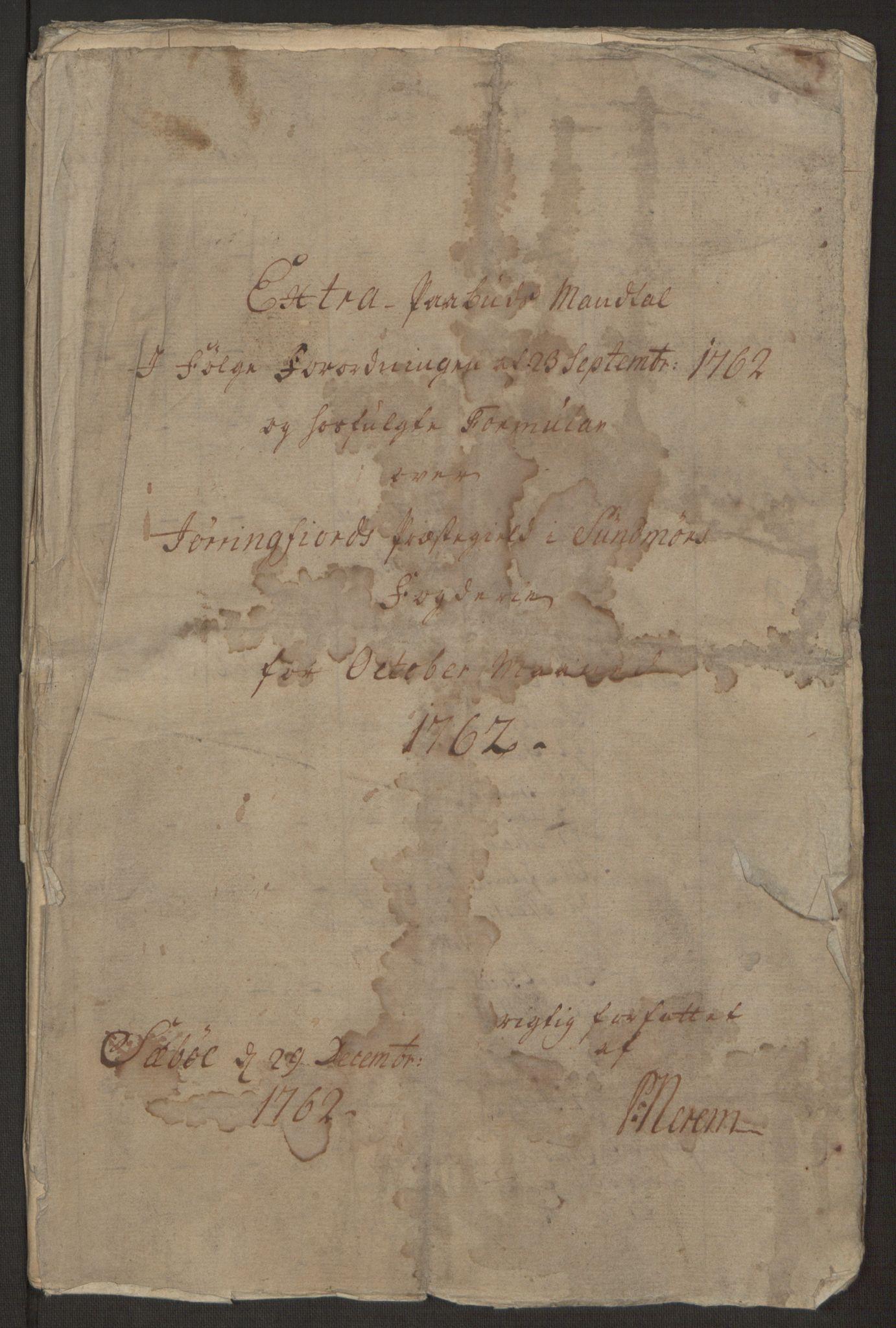RA, Rentekammeret inntil 1814, Realistisk ordnet avdeling, Ol/L0019: [Gg 10]: Ekstraskatten, 23.09.1762. Sunnmøre, 1762-1763, s. 258