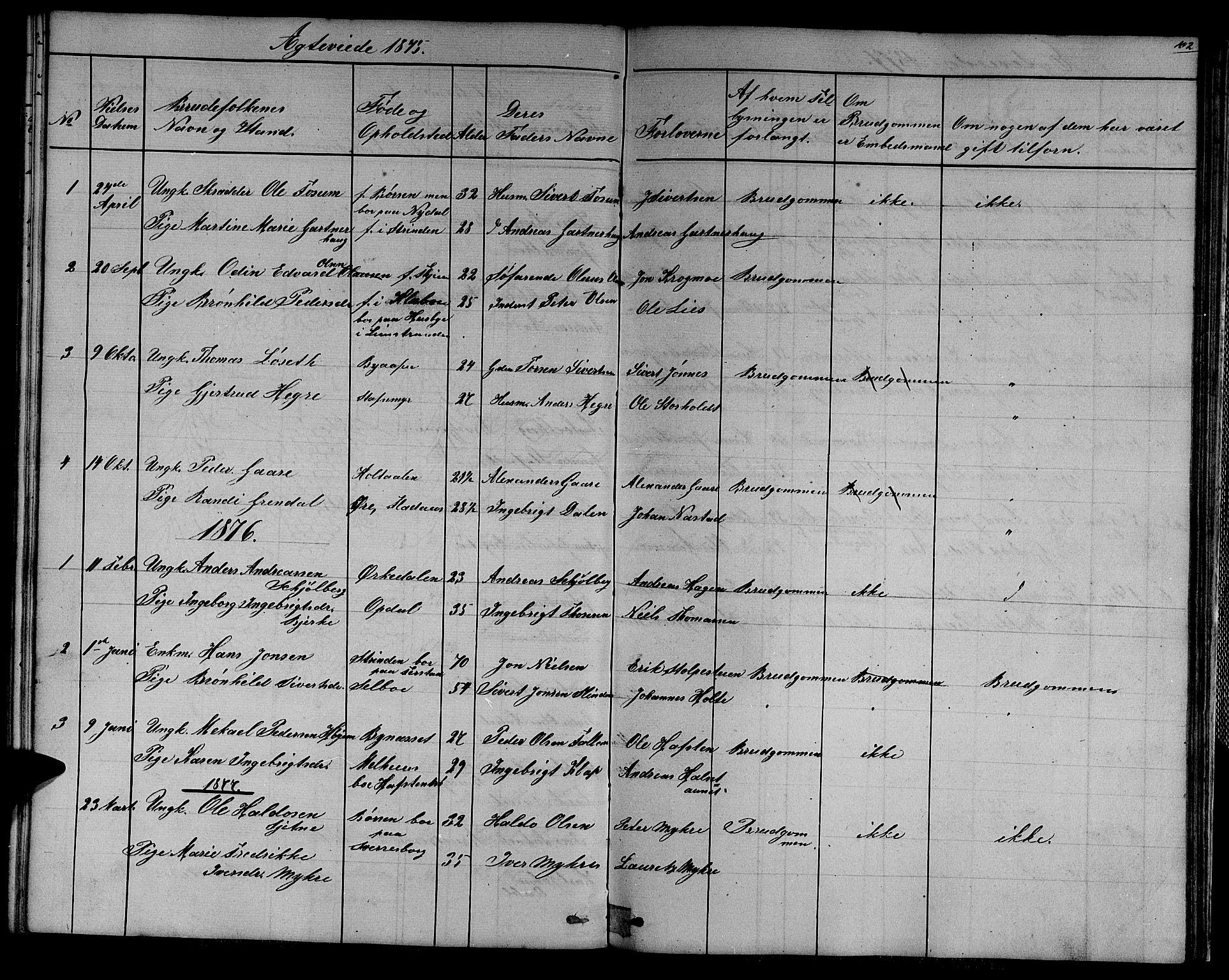 SAT, Ministerialprotokoller, klokkerbøker og fødselsregistre - Sør-Trøndelag, 611/L0353: Klokkerbok nr. 611C01, 1854-1881, s. 102