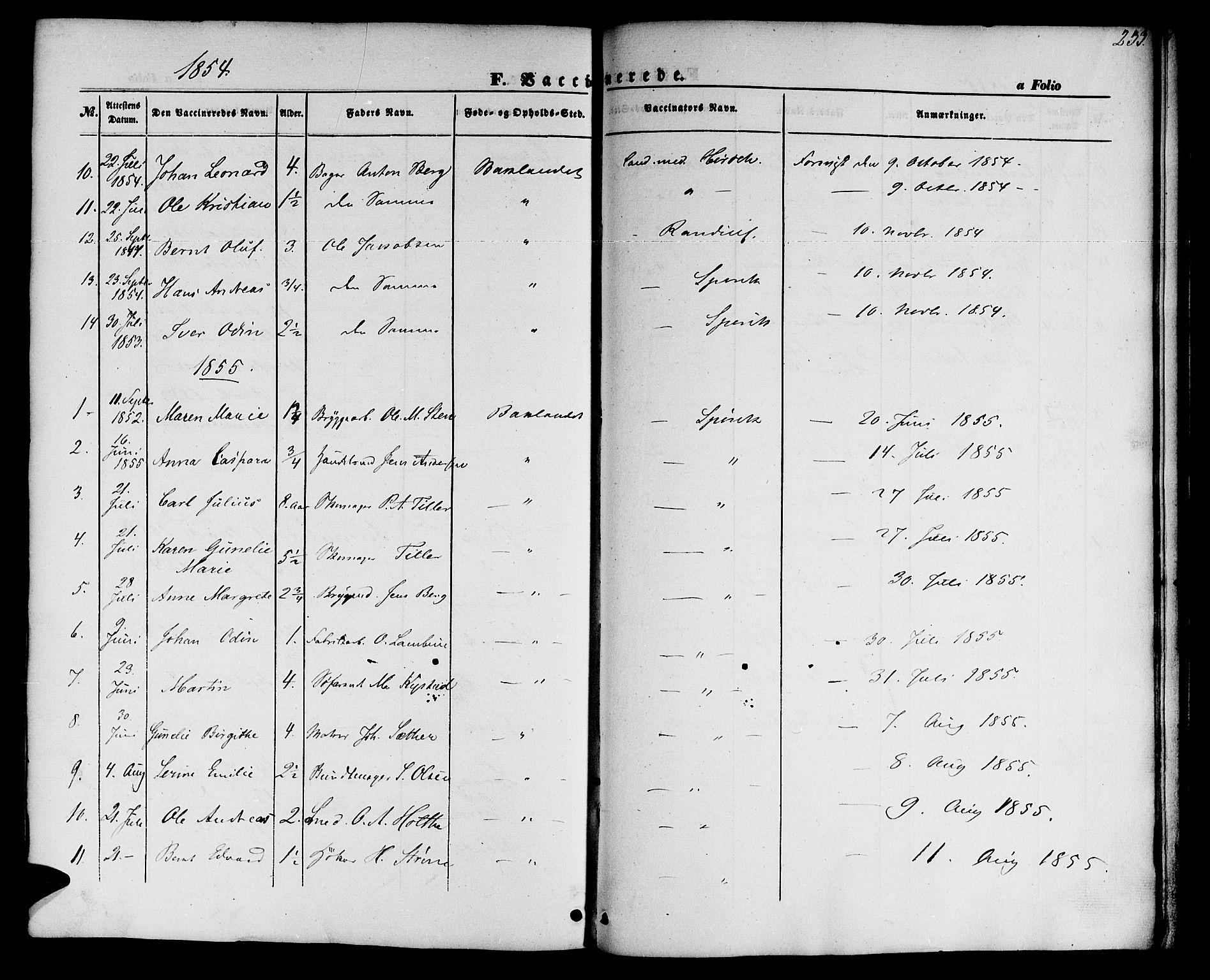 SAT, Ministerialprotokoller, klokkerbøker og fødselsregistre - Sør-Trøndelag, 604/L0184: Ministerialbok nr. 604A05, 1851-1860, s. 233