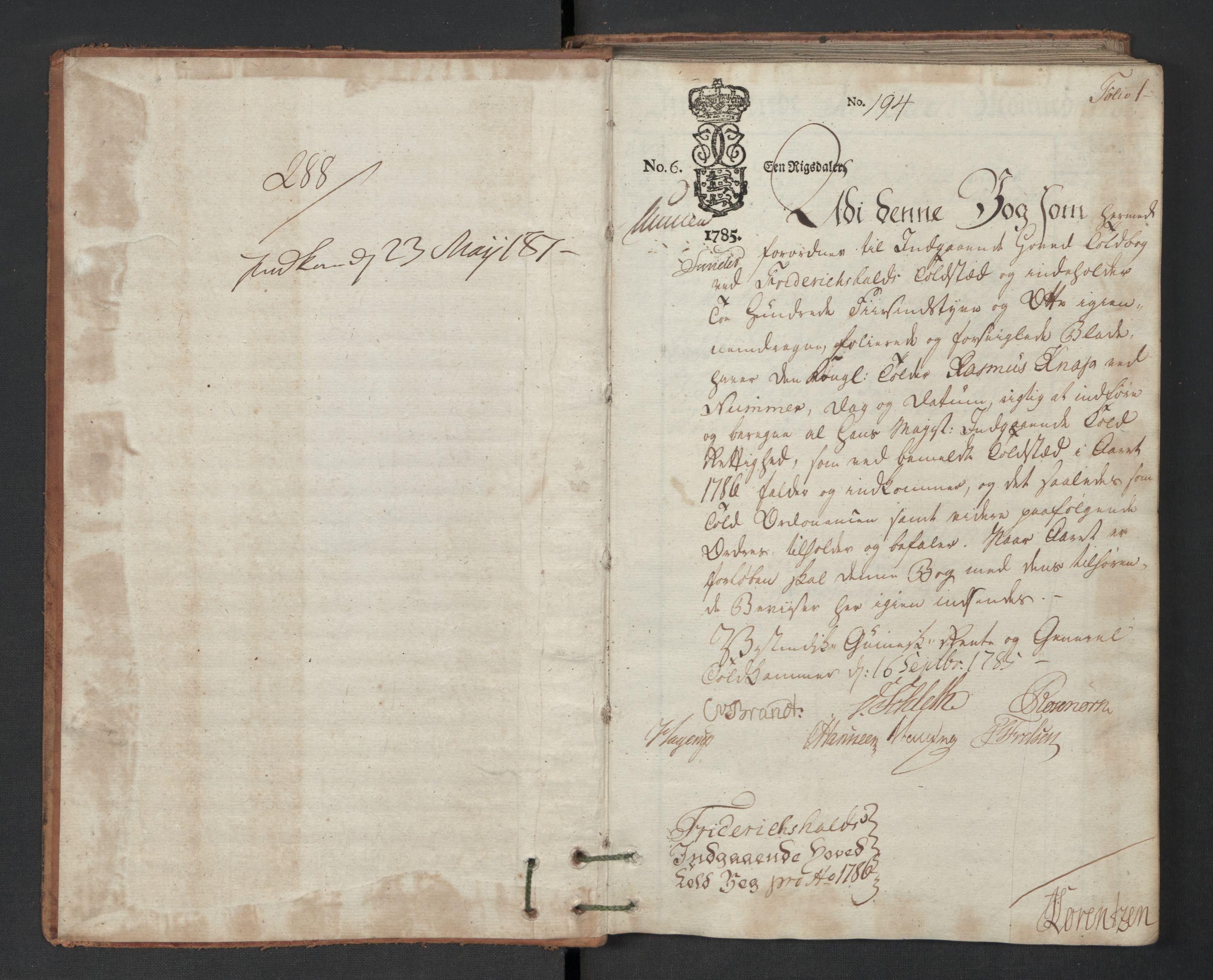 RA, Generaltollkammeret, tollregnskaper, R01/L0130: Tollregnskaper Fredrikshald, 1786, s. 1a