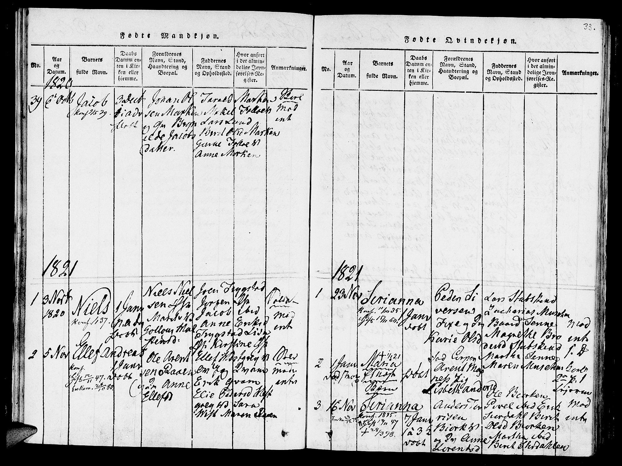 SAT, Ministerialprotokoller, klokkerbøker og fødselsregistre - Nord-Trøndelag, 723/L0234: Ministerialbok nr. 723A05 /1, 1816-1840, s. 33