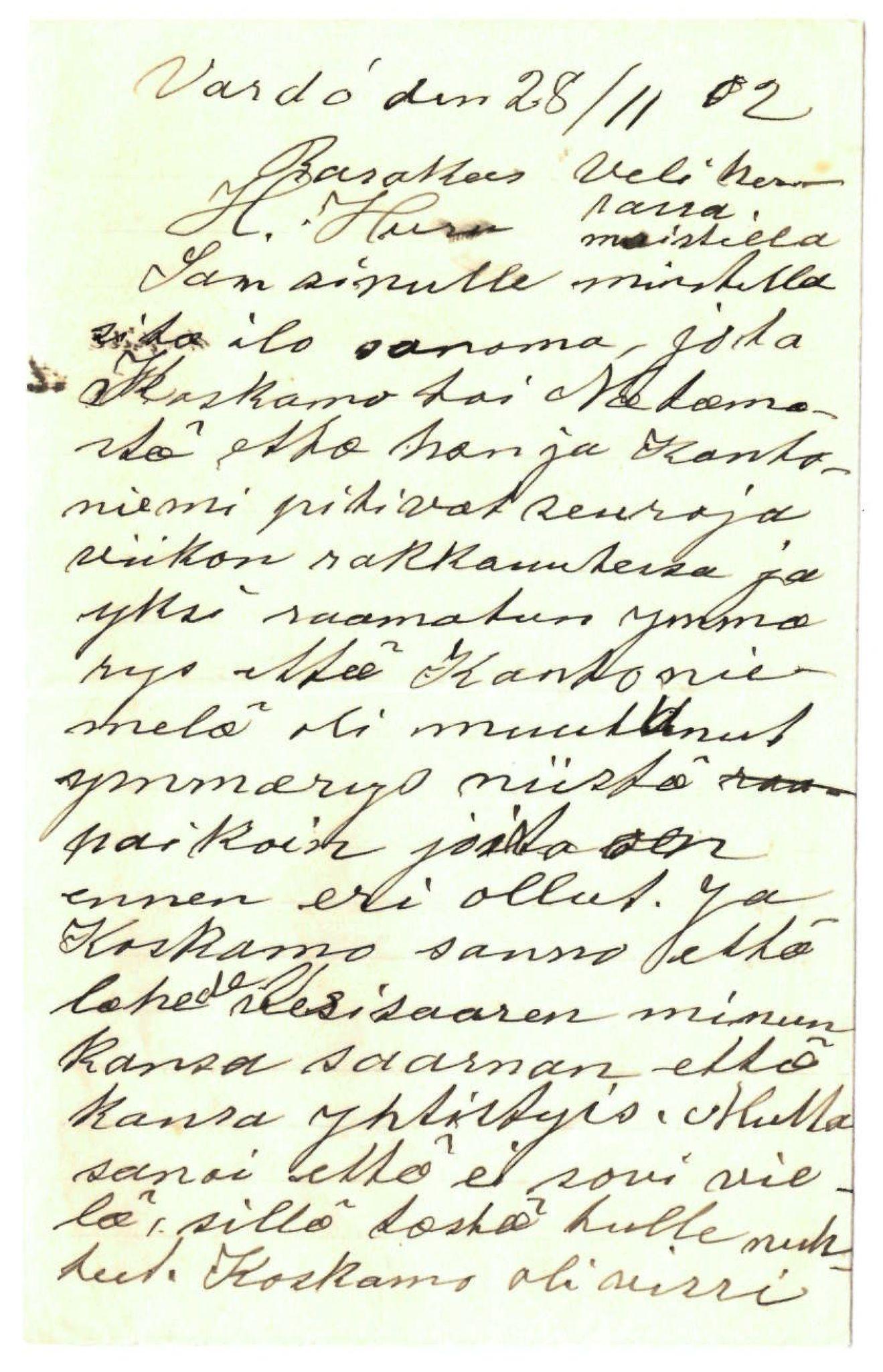 FMFB, Elise Balos brevsamling, F/Fa/L0016: Brev fra Syrjänen til K. Huru , 1902