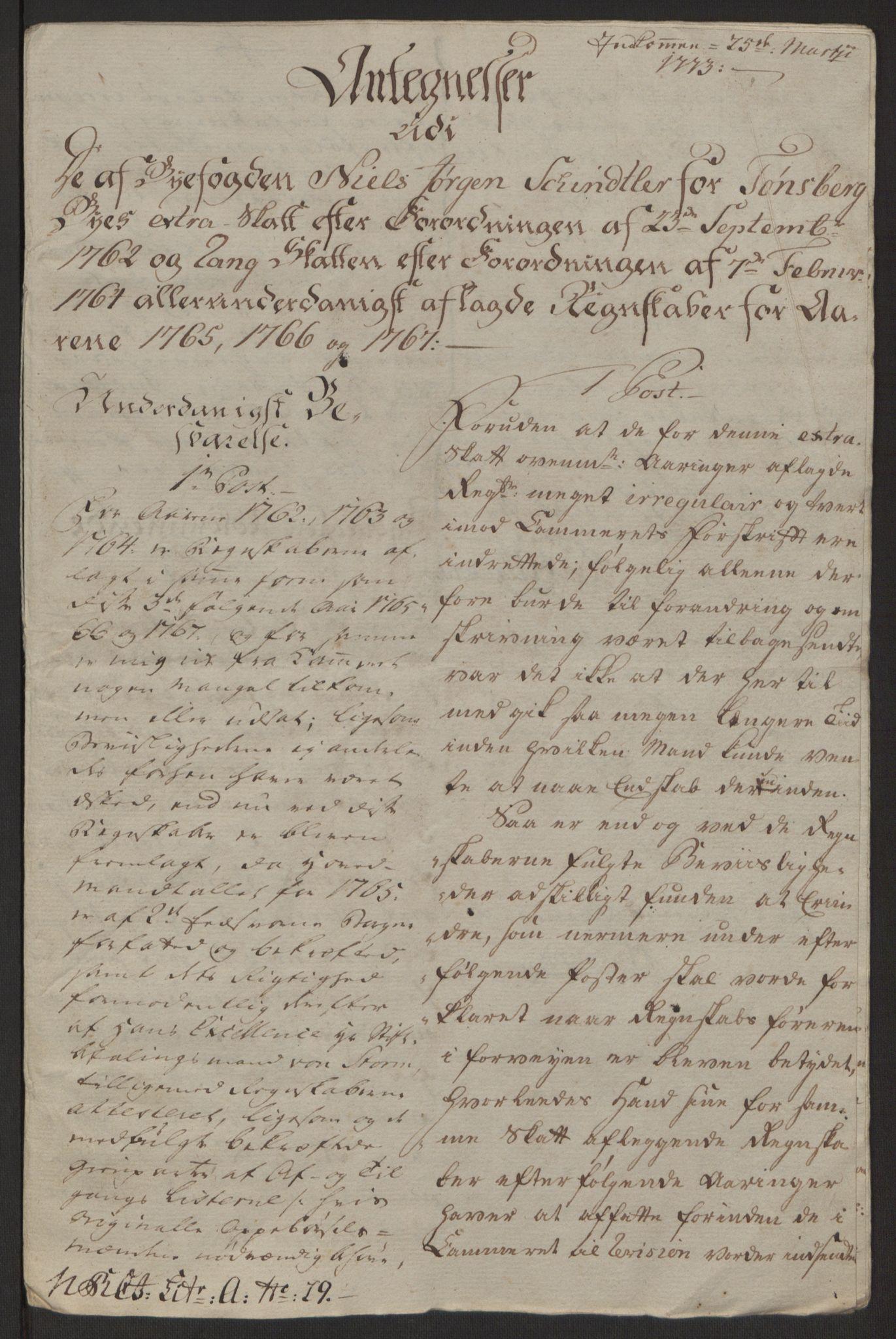 RA, Rentekammeret inntil 1814, Reviderte regnskaper, Byregnskaper, R/Rh/L0162: [H4] Kontribusjonsregnskap, 1762-1772, s. 329