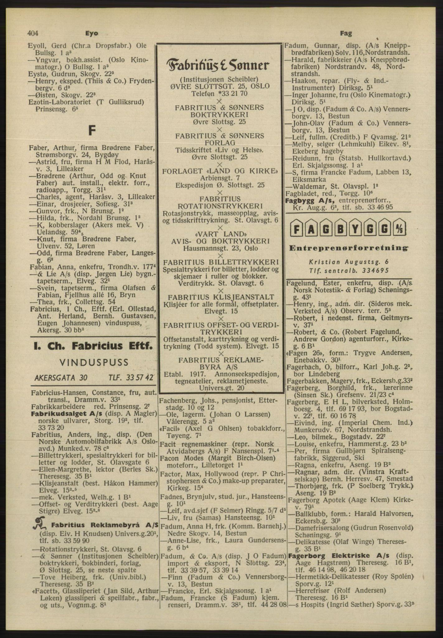 PUBL, Kristiania/Oslo adressebok, 1955, s. 404