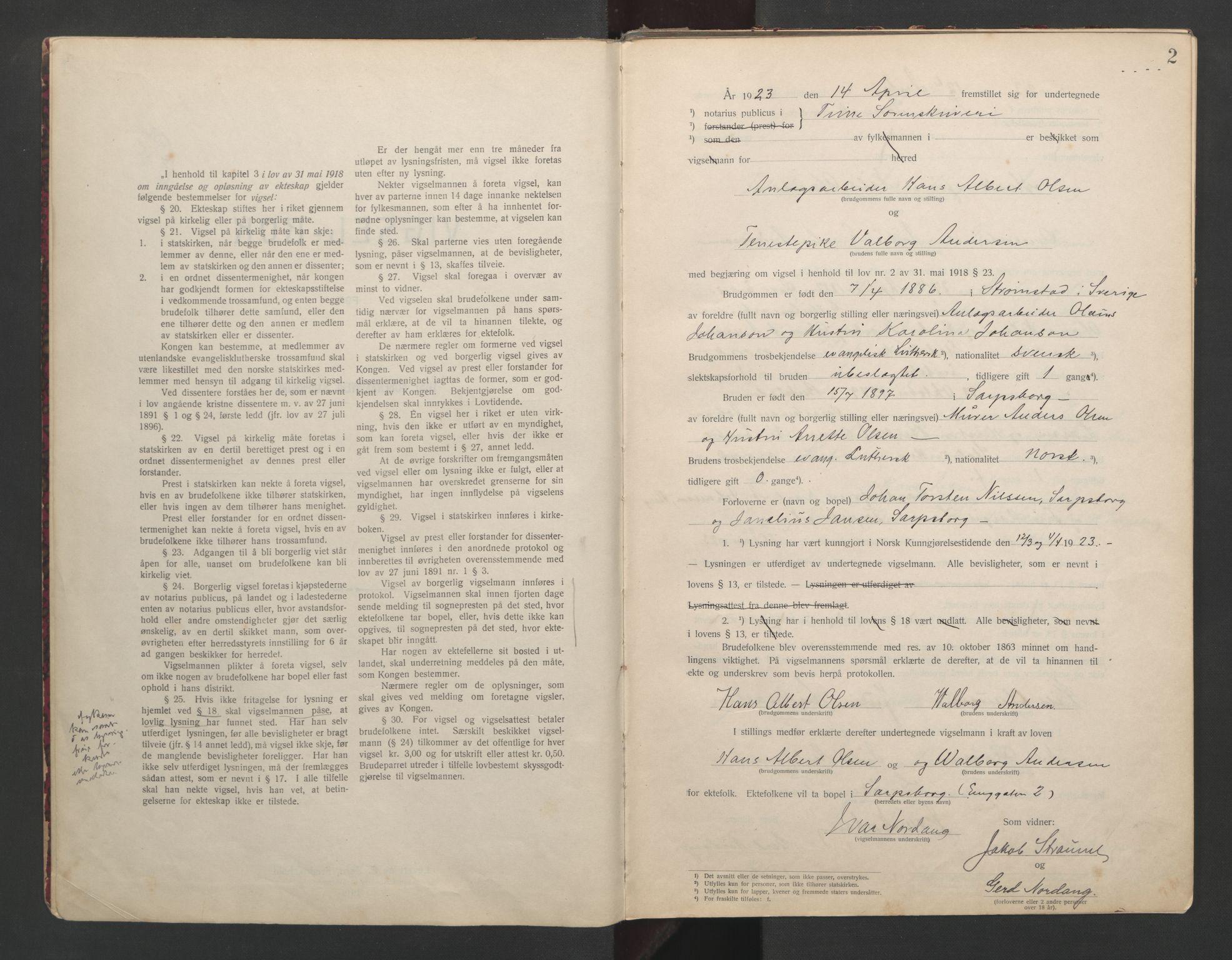 SAO, Tune sorenskriveri, L/Lb/L0001: Vigselprotokoll, 1923-1943, s. 2