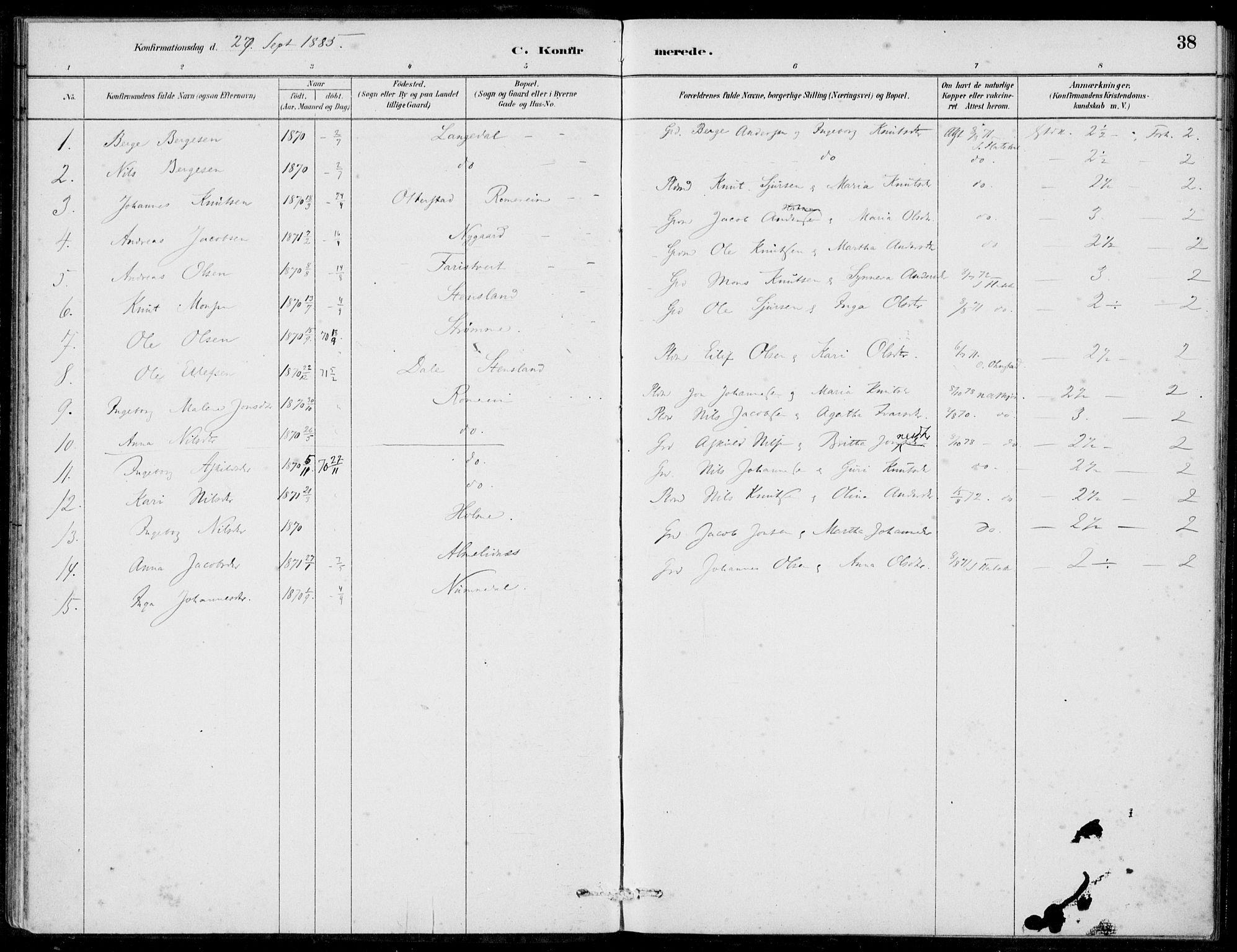 SAB, Hosanger Sokneprestembete, H/Haa: Ministerialbok nr. C  1, 1880-1900, s. 38