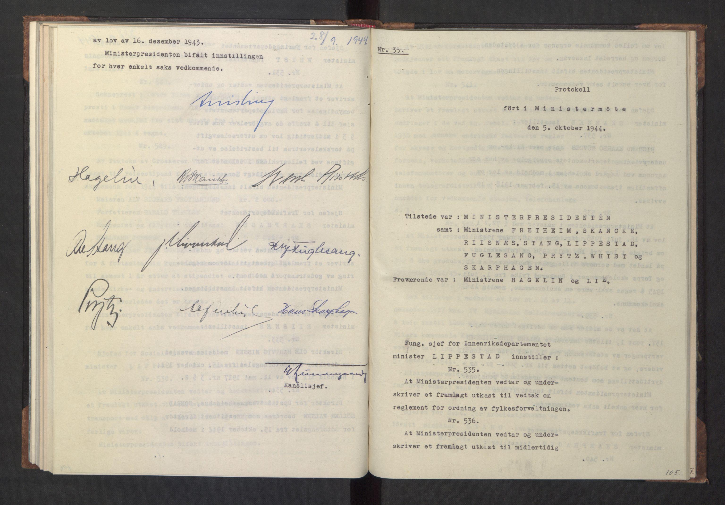RA, NS-administrasjonen 1940-1945 (Statsrådsekretariatet, de kommisariske statsråder mm), D/Da/L0005: Protokoll fra ministermøter, 1944, s. 104b-105a