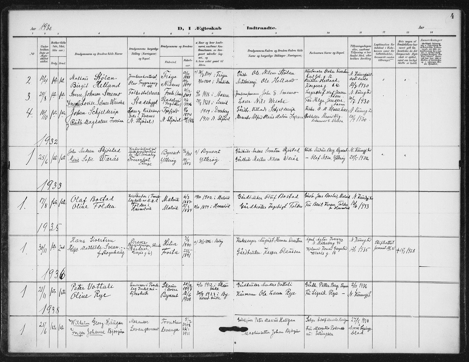 SAT, Ministerialprotokoller, klokkerbøker og fødselsregistre - Sør-Trøndelag, 623/L0472: Ministerialbok nr. 623A06, 1907-1938, s. 4
