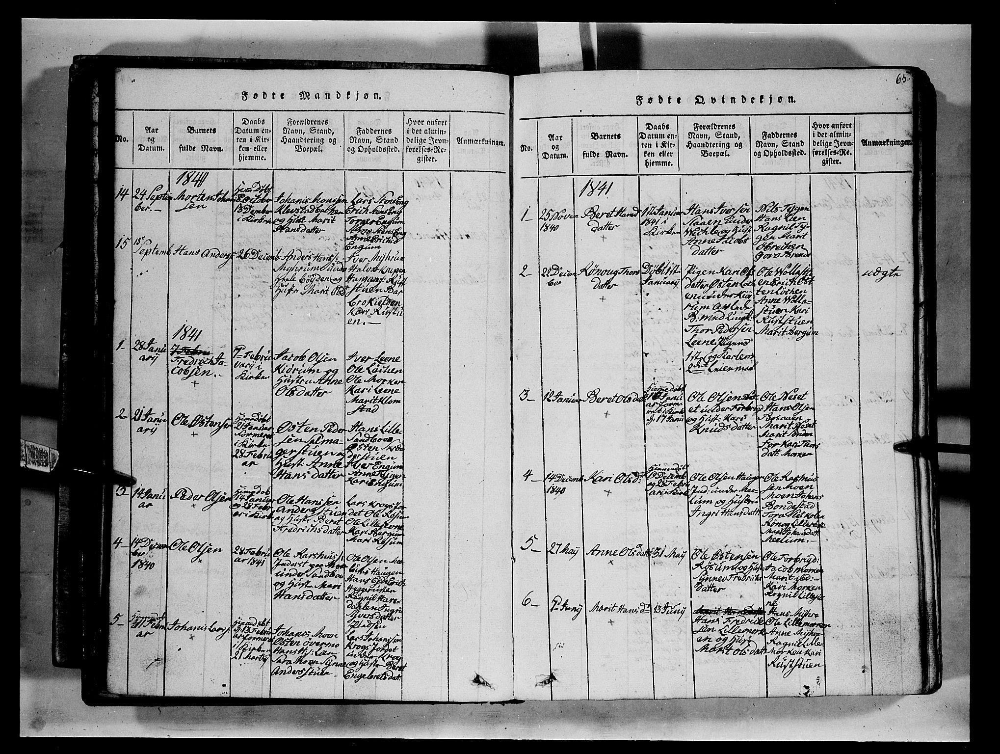 SAH, Fron prestekontor, H/Ha/Hab/L0002: Klokkerbok nr. 2, 1816-1850, s. 65