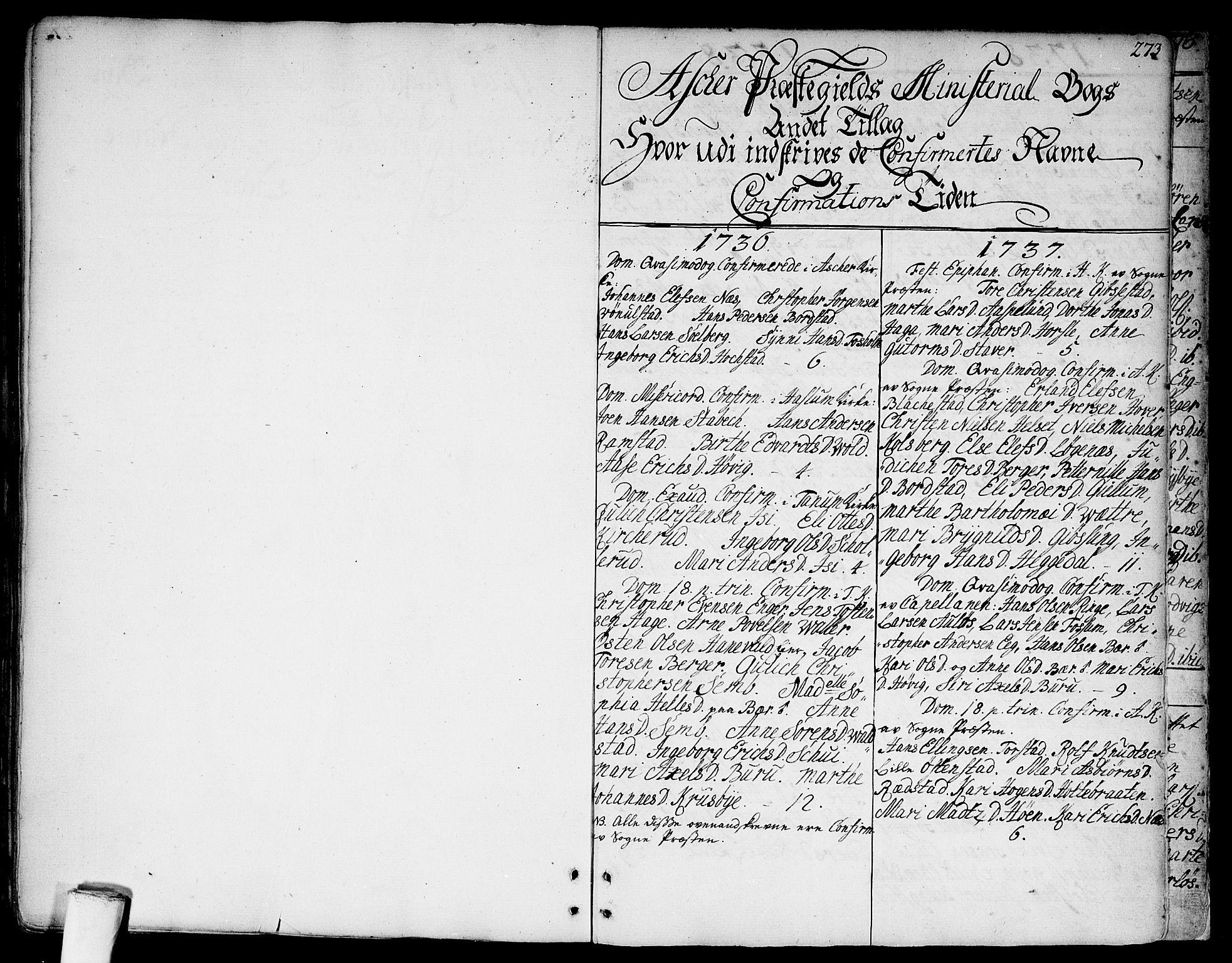 SAO, Asker prestekontor Kirkebøker, F/Fa/L0002: Ministerialbok nr. I 2, 1733-1766, s. 273