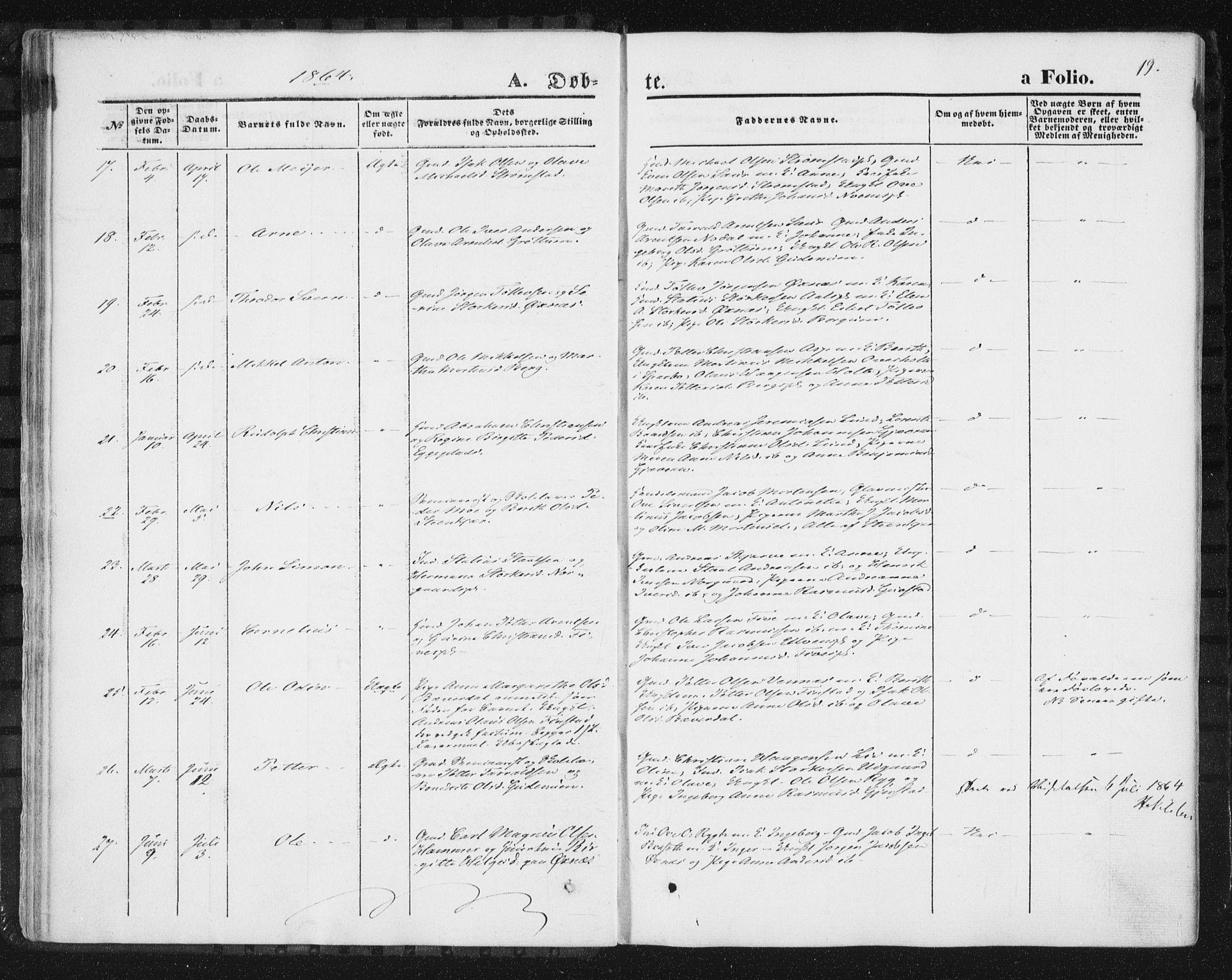 SAT, Ministerialprotokoller, klokkerbøker og fødselsregistre - Nord-Trøndelag, 746/L0447: Ministerialbok nr. 746A06, 1860-1877, s. 19