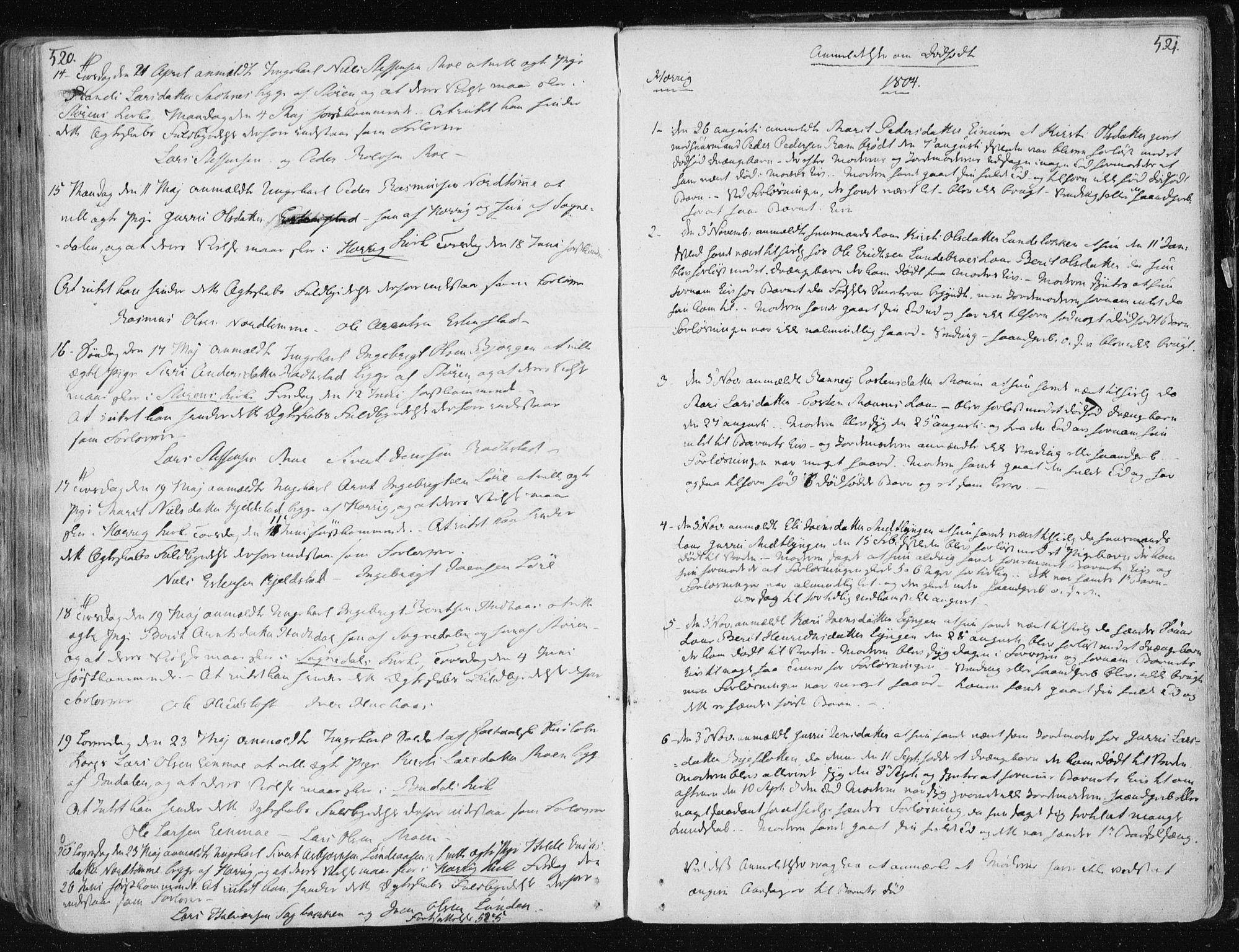 SAT, Ministerialprotokoller, klokkerbøker og fødselsregistre - Sør-Trøndelag, 687/L0992: Ministerialbok nr. 687A03 /1, 1788-1815, s. 520-521