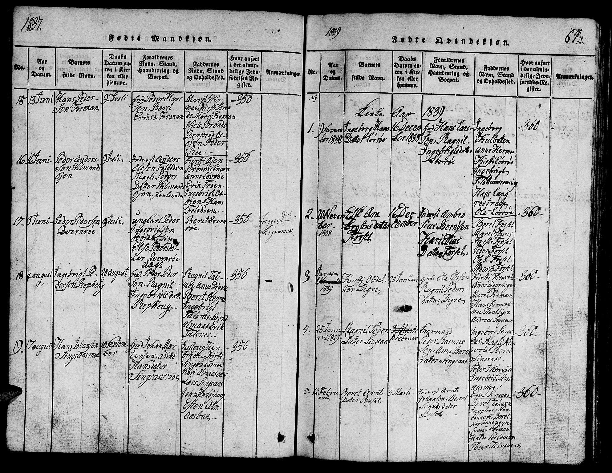 SAT, Ministerialprotokoller, klokkerbøker og fødselsregistre - Sør-Trøndelag, 688/L1026: Klokkerbok nr. 688C01, 1817-1860, s. 64