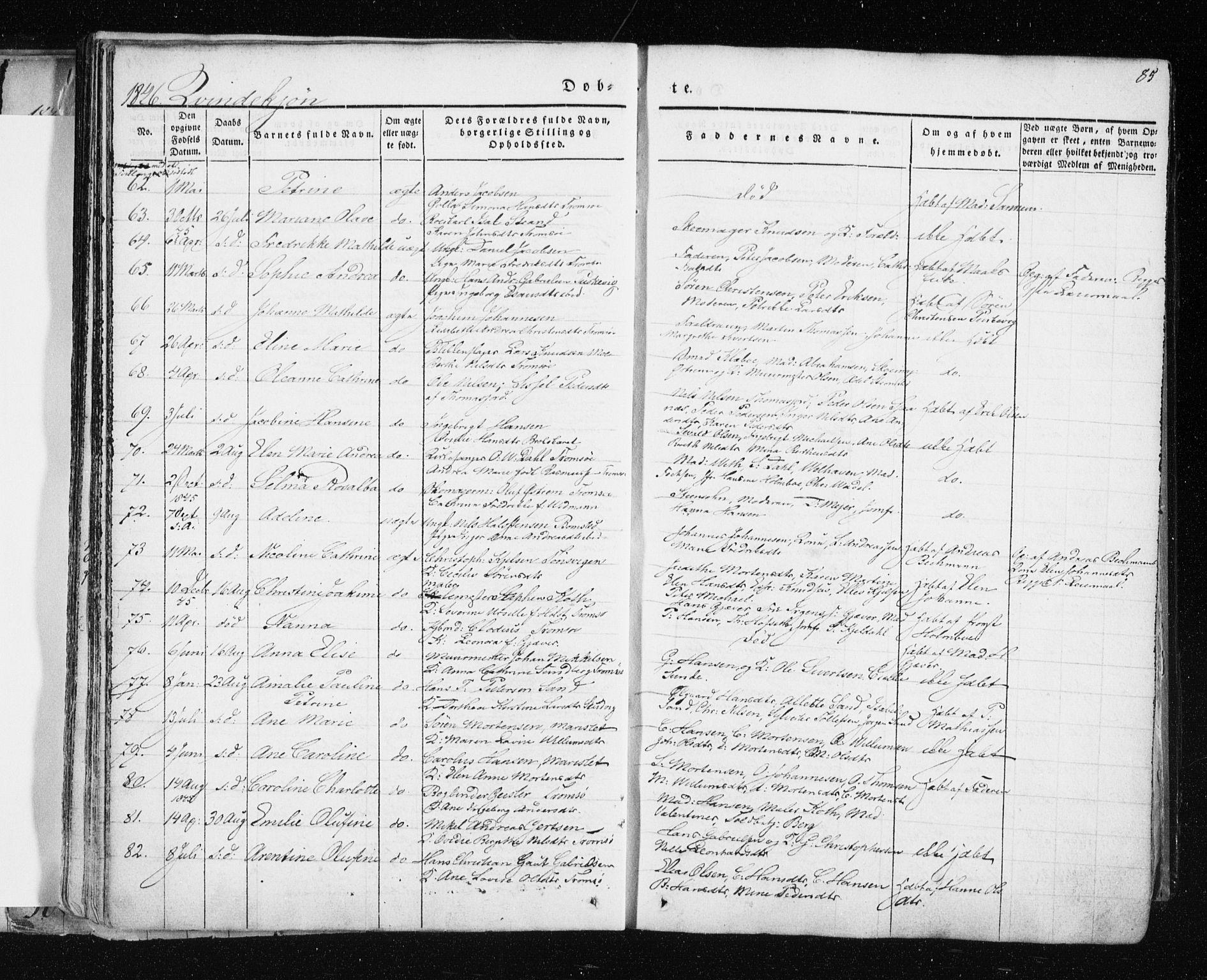 SATØ, Tromsø sokneprestkontor/stiftsprosti/domprosti, G/Ga/L0009kirke: Ministerialbok nr. 9, 1837-1847, s. 85