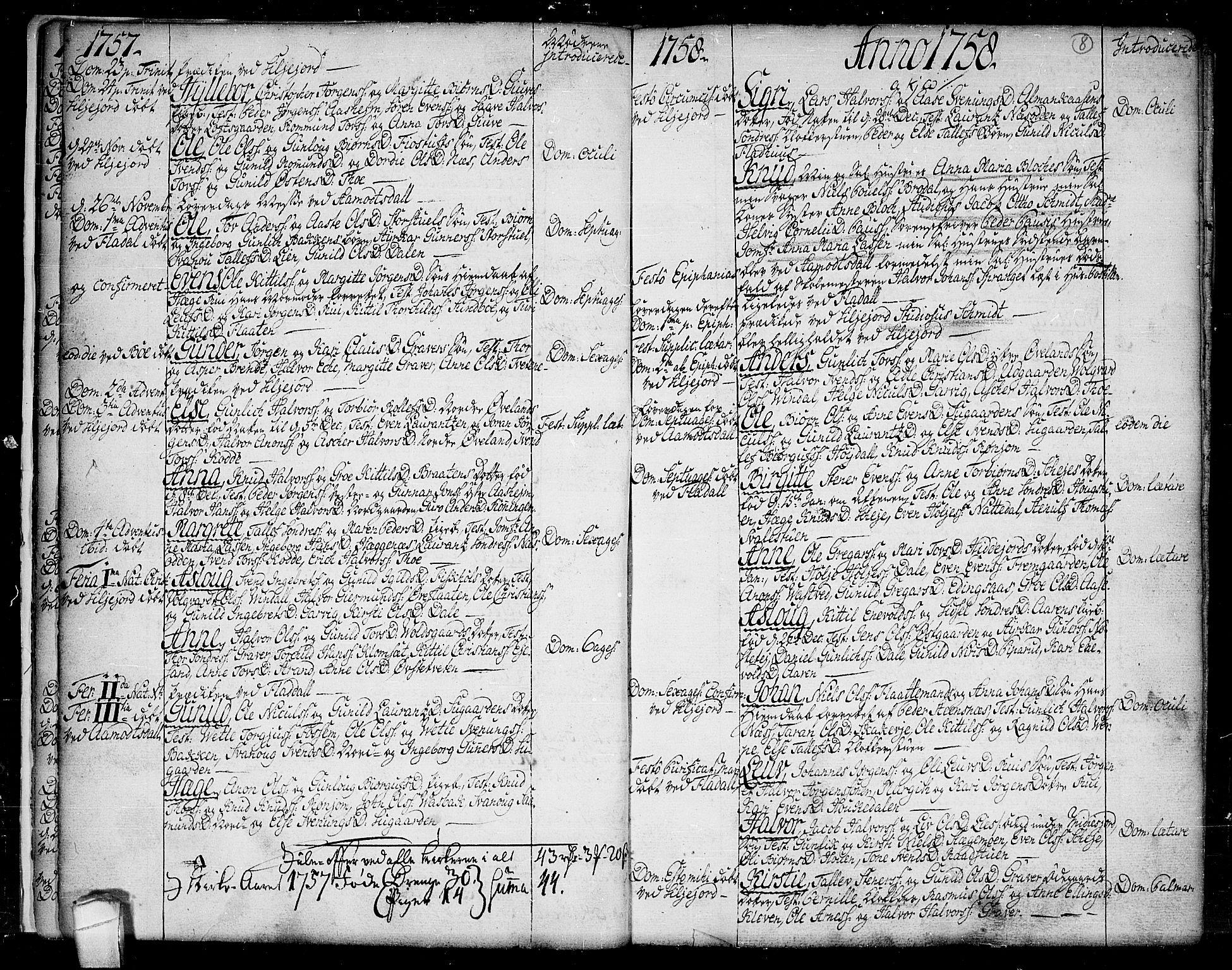 SAKO, Seljord kirkebøker, F/Fa/L0007: Ministerialbok nr. I 7, 1755-1800, s. 8