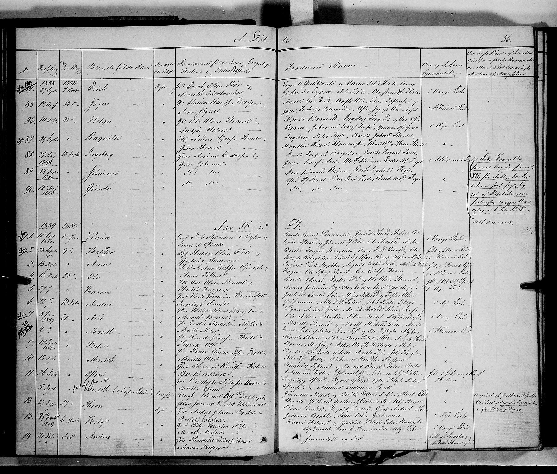 SAH, Vang prestekontor, Valdres, Ministerialbok nr. 6, 1846-1864, s. 56
