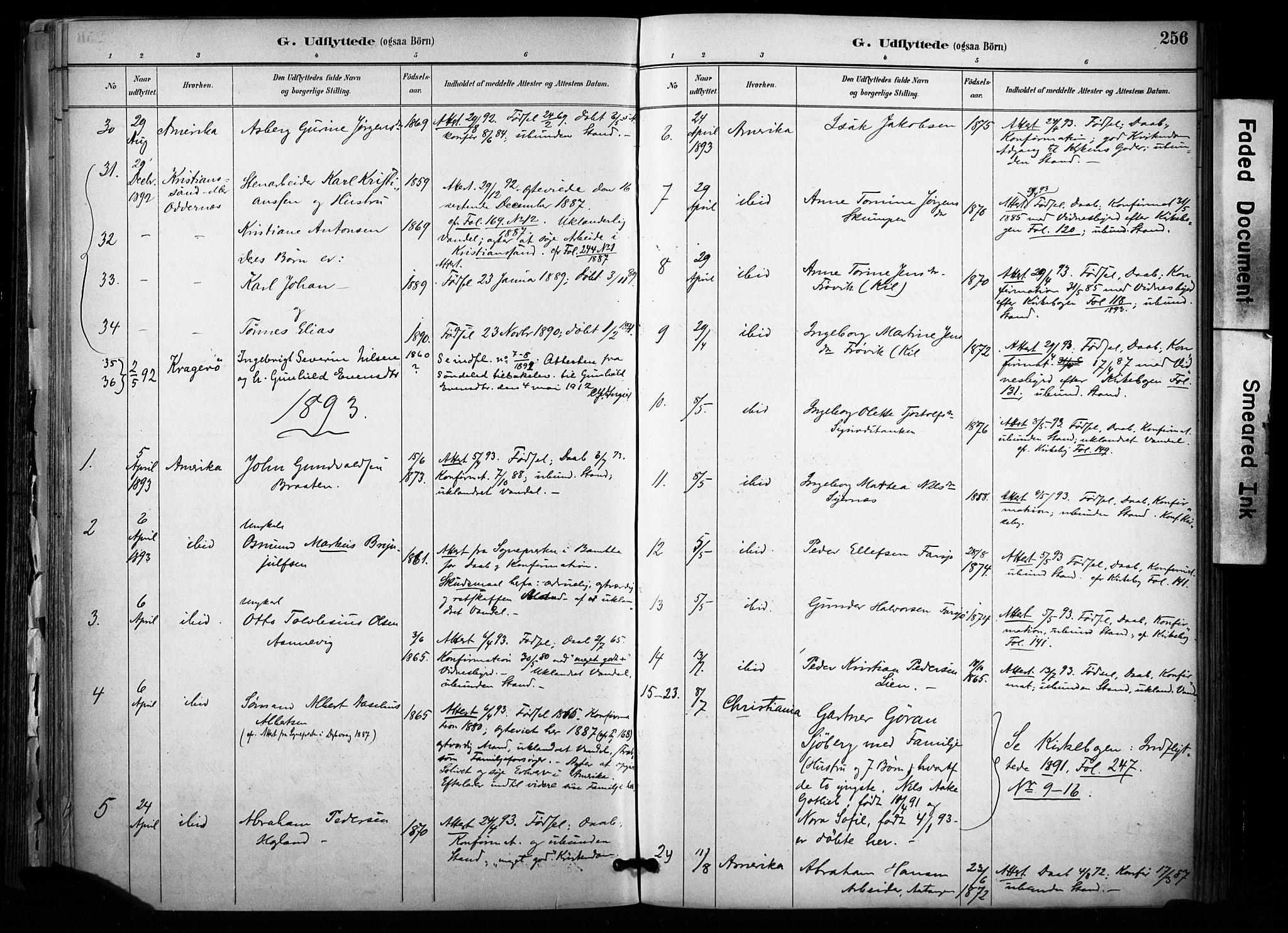 SAKO, Sannidal kirkebøker, F/Fa/L0015: Ministerialbok nr. 15, 1884-1899, s. 256