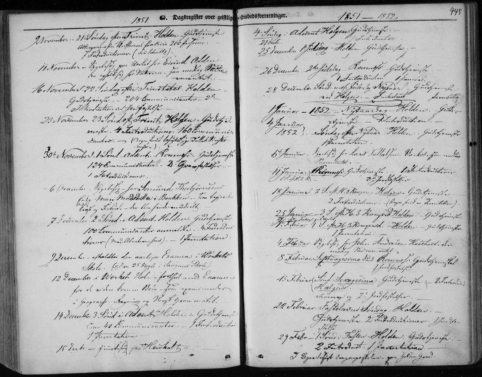 SAKO, Holla kirkebøker, F/Fa/L0005: Ministerialbok nr. 5, 1849-1860, s. 445