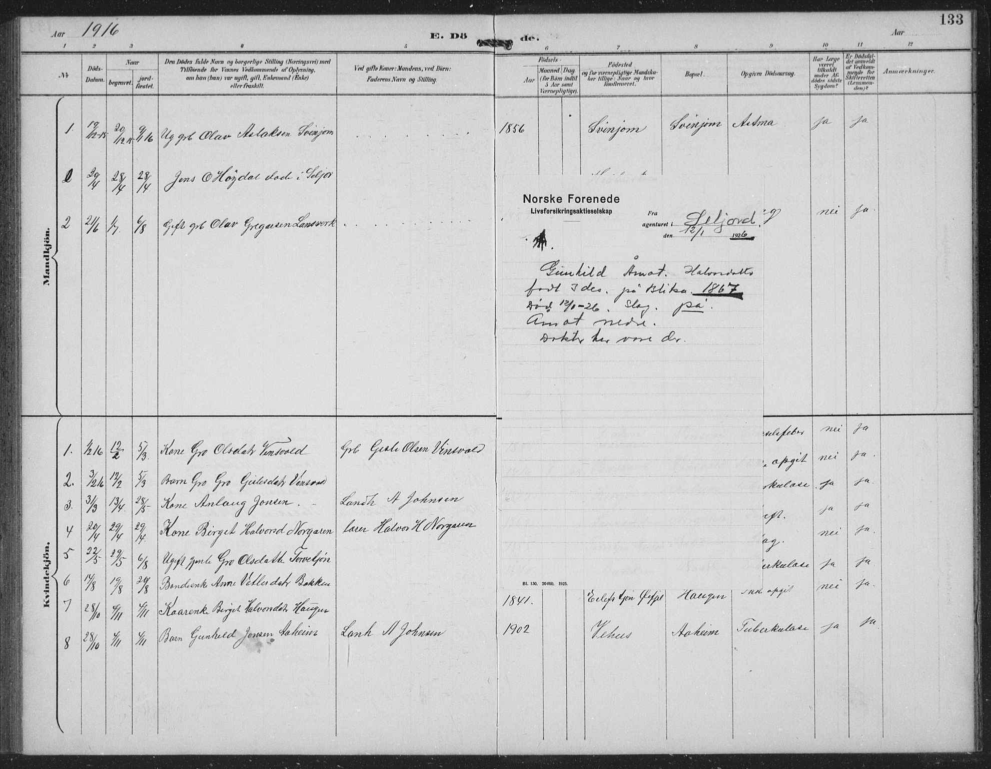 SAKO, Seljord kirkebøker, G/Gc/L0003: Klokkerbok nr. III 3, 1887-1926, s. 133