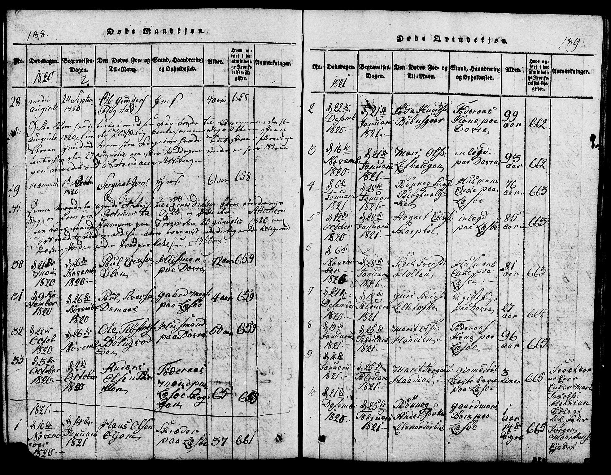 SAH, Lesja prestekontor, Klokkerbok nr. 1, 1820-1831, s. 188-189
