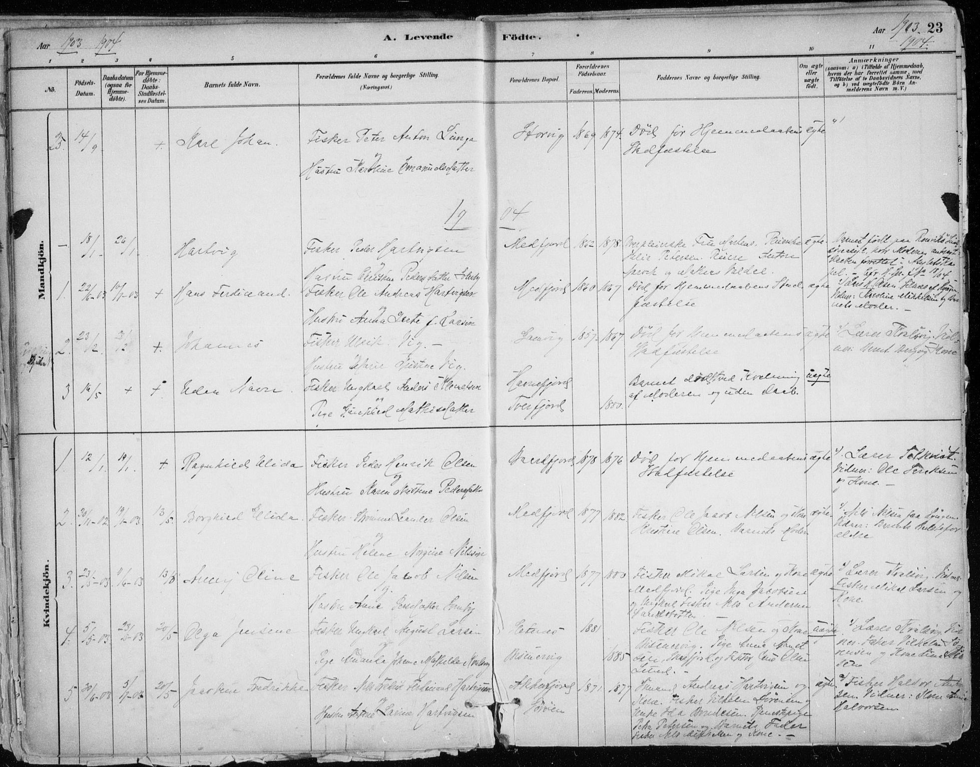 SATØ, Hammerfest sokneprestkontor, H/Ha/L0013.kirke: Ministerialbok nr. 13, 1898-1917, s. 23