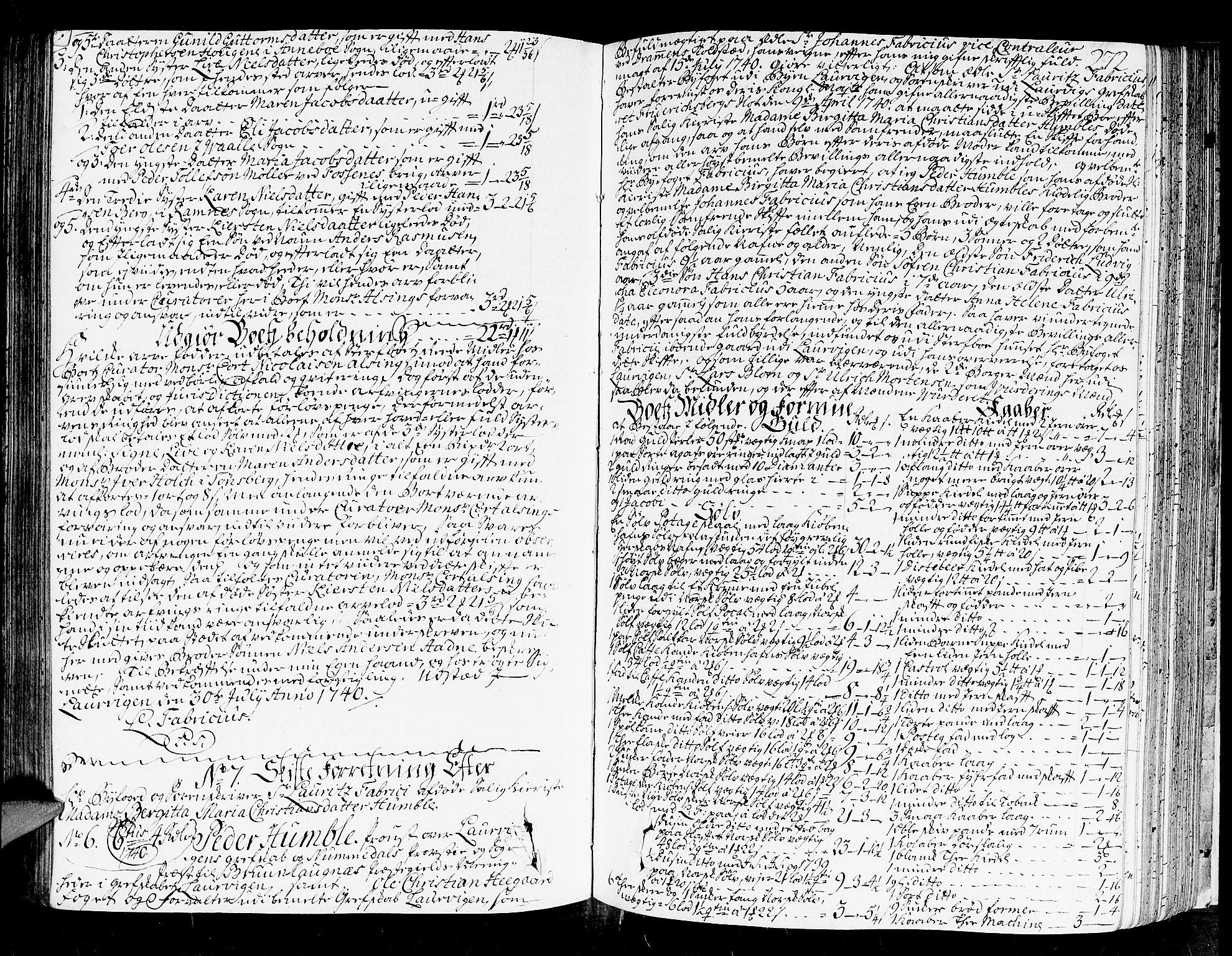 SAKO, Larvik byfogd, H/Hb/Hba/L0008: Skifteprotokoll., 1736-1742, s. 271b-272a