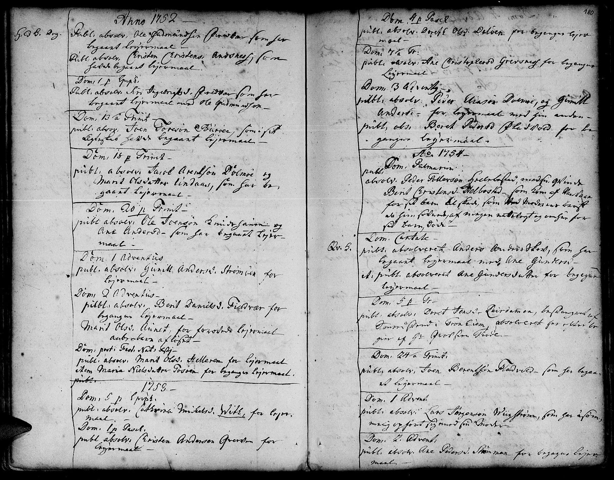 SAT, Ministerialprotokoller, klokkerbøker og fødselsregistre - Sør-Trøndelag, 634/L0525: Ministerialbok nr. 634A01, 1736-1775, s. 180