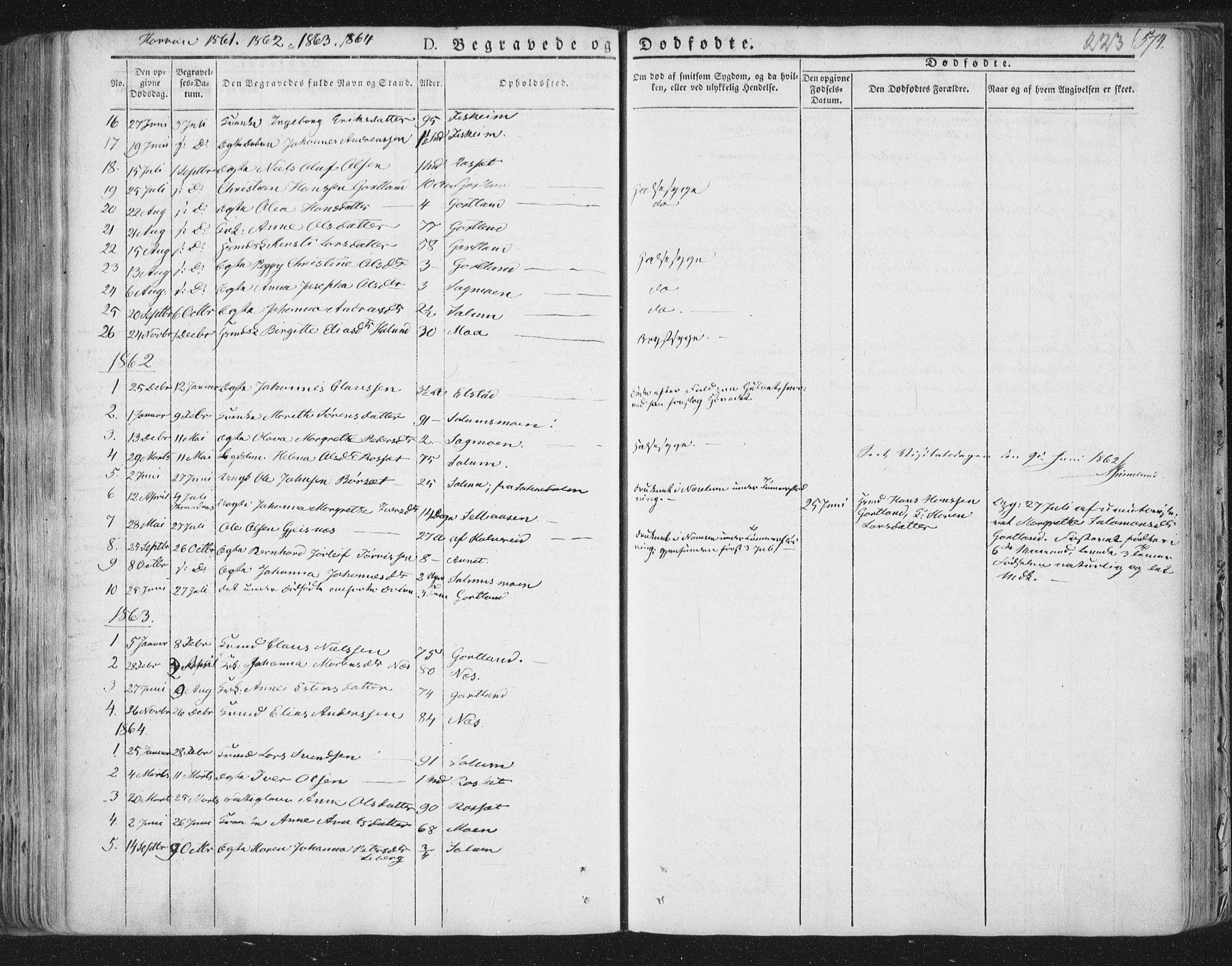 SAT, Ministerialprotokoller, klokkerbøker og fødselsregistre - Nord-Trøndelag, 758/L0513: Ministerialbok nr. 758A02 /3, 1839-1868, s. 223