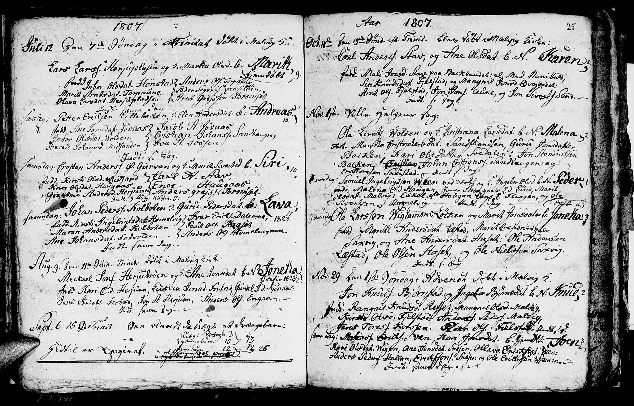 SAT, Ministerialprotokoller, klokkerbøker og fødselsregistre - Sør-Trøndelag, 616/L0419: Klokkerbok nr. 616C02, 1797-1816, s. 25