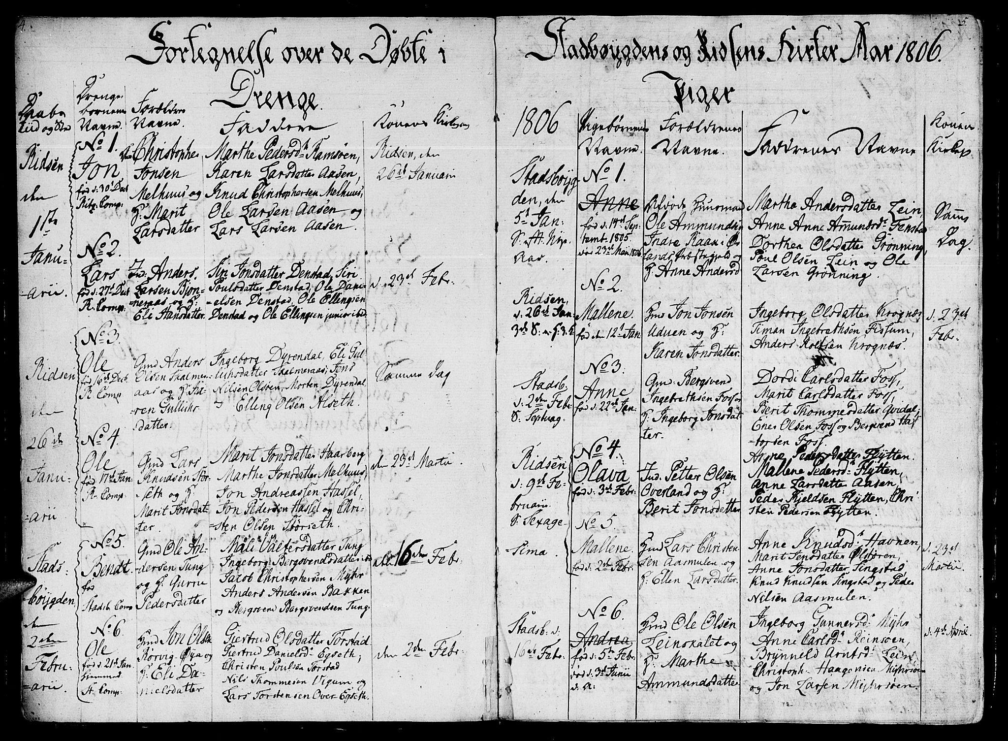 SAT, Ministerialprotokoller, klokkerbøker og fødselsregistre - Sør-Trøndelag, 646/L0607: Ministerialbok nr. 646A05, 1806-1815, s. 4-5
