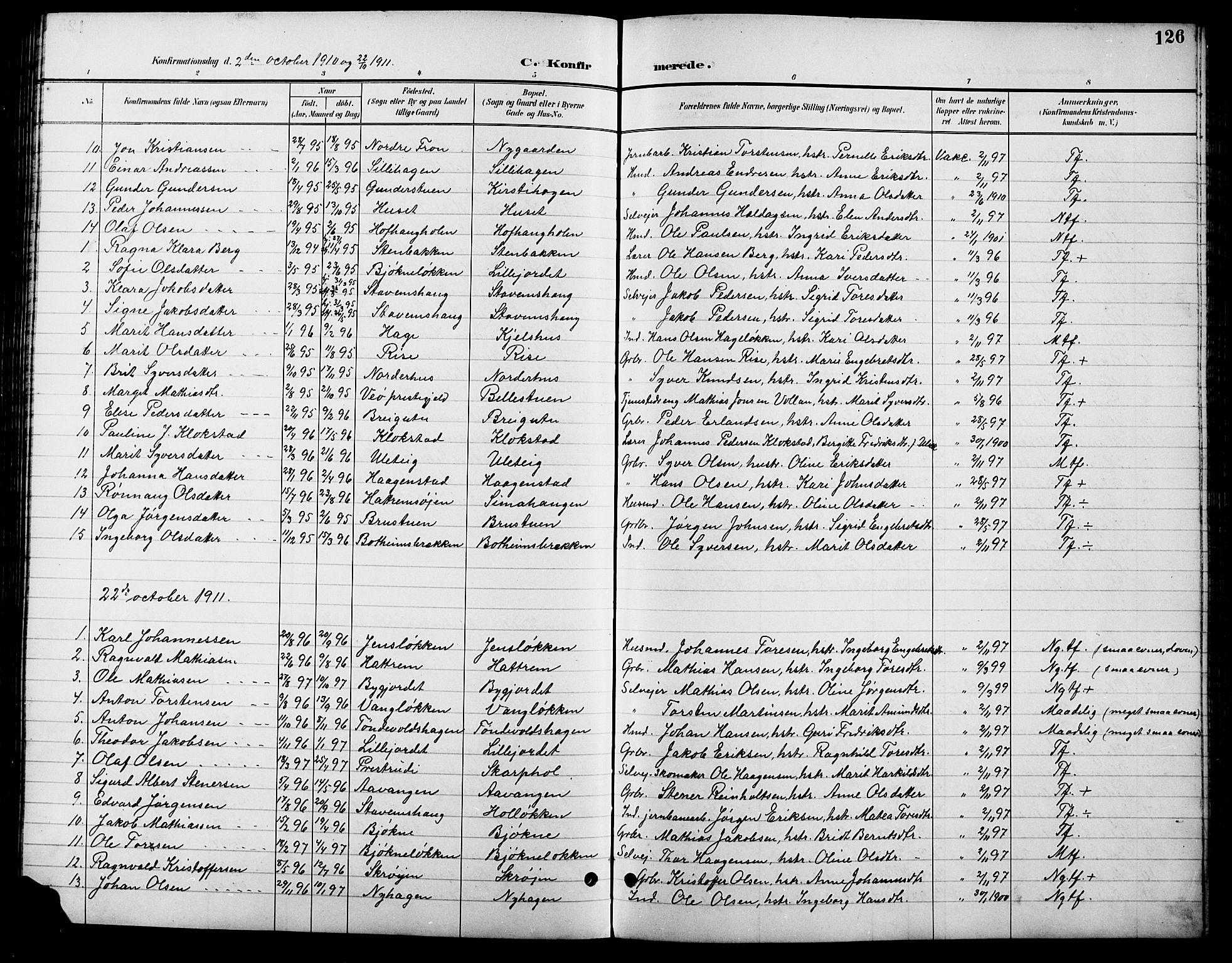 SAH, Lesja prestekontor, Klokkerbok nr. 7, 1895-1919, s. 126