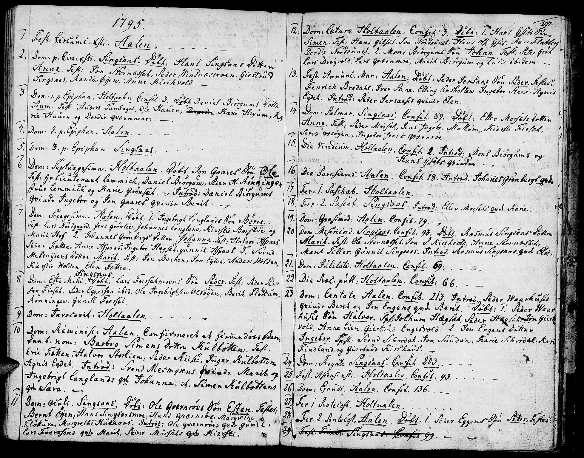 SAT, Ministerialprotokoller, klokkerbøker og fødselsregistre - Sør-Trøndelag, 685/L0952: Ministerialbok nr. 685A01, 1745-1804, s. 197