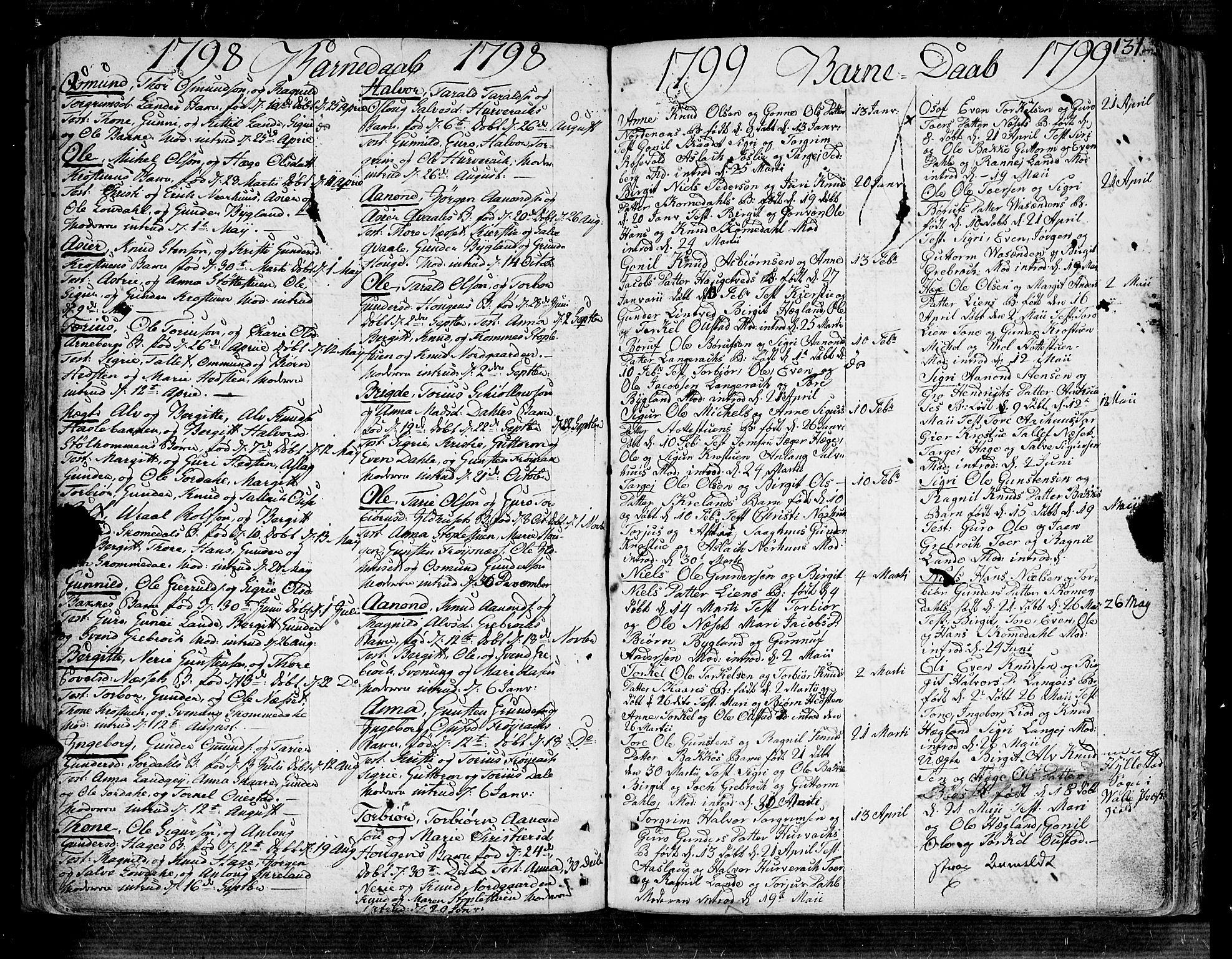 SAK, Bygland sokneprestkontor, F/Fa/Fab/L0002: Ministerialbok nr. A 2, 1766-1816, s. 131