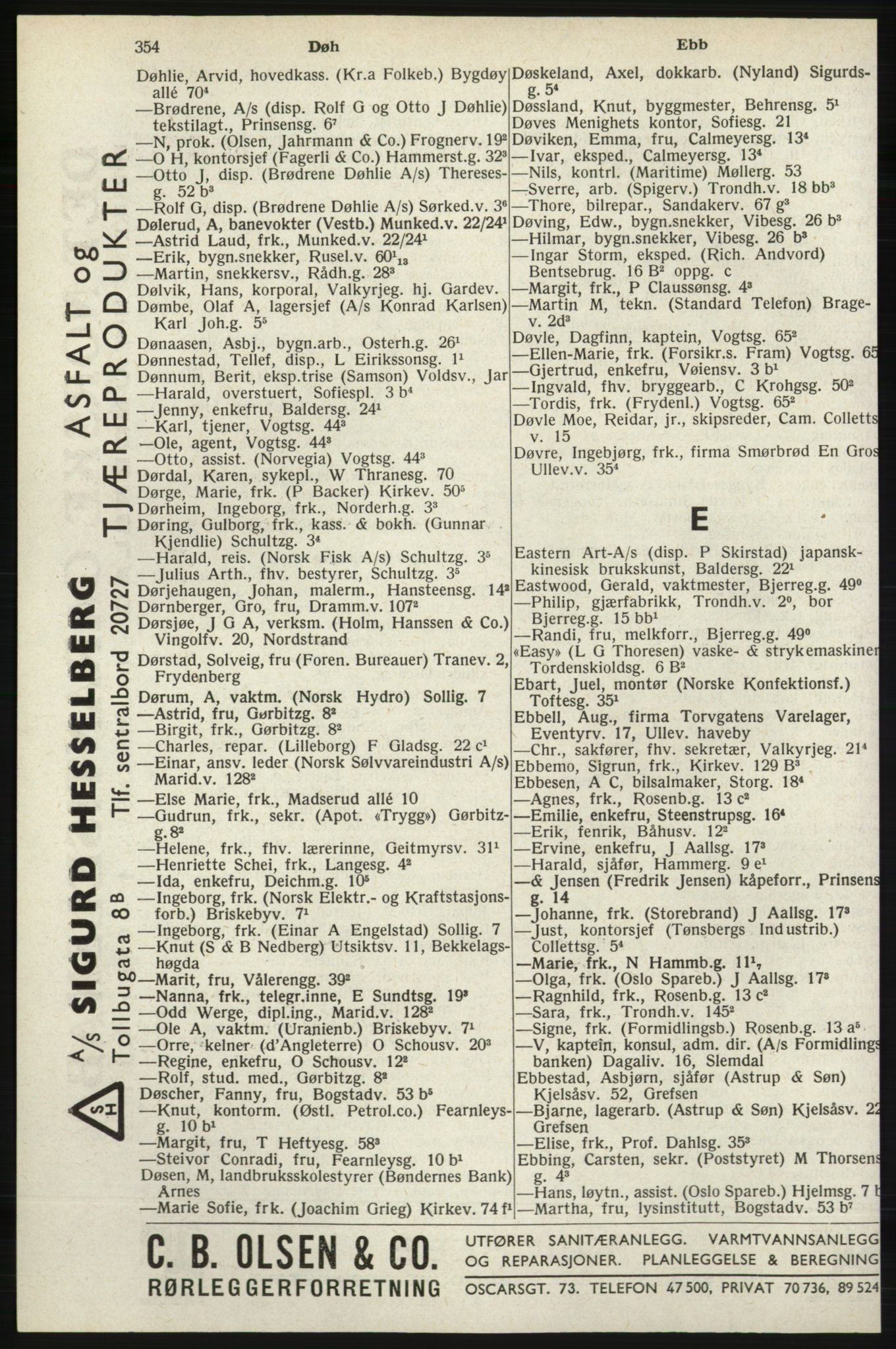 RA, Oslo adressebok (publikasjon)*, 1940, s. 354