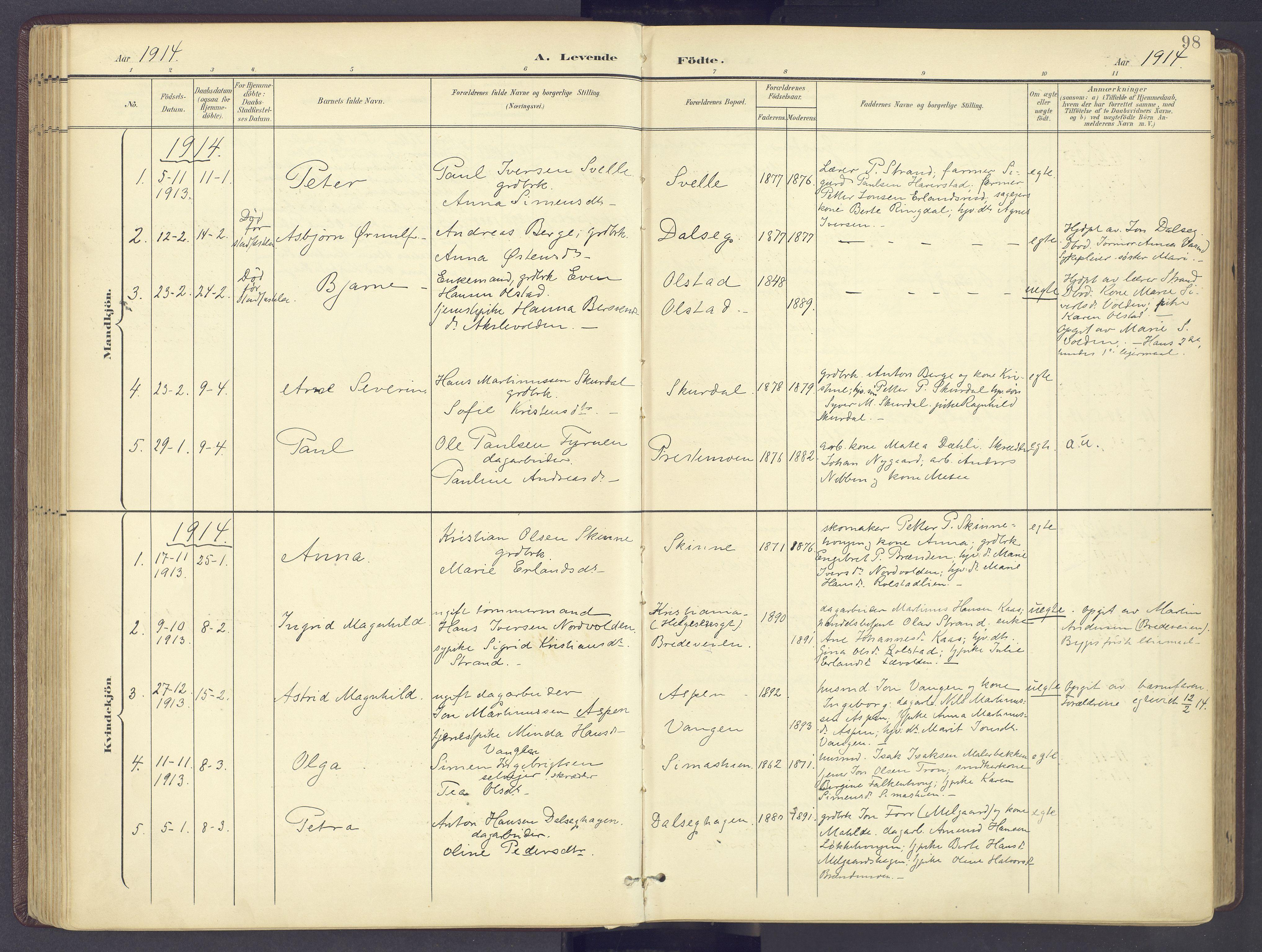 SAH, Sør-Fron prestekontor, H/Ha/Haa/L0004: Ministerialbok nr. 4, 1898-1919, s. 98