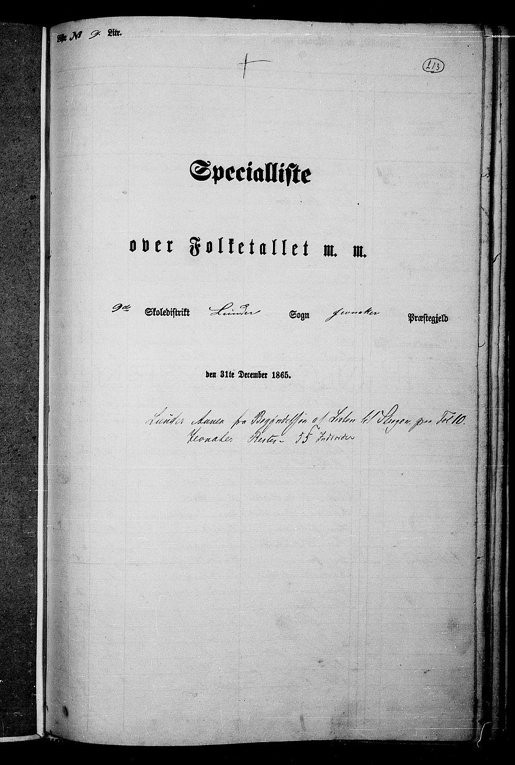 RA, Folketelling 1865 for 0532P Jevnaker prestegjeld, 1865, s. 197