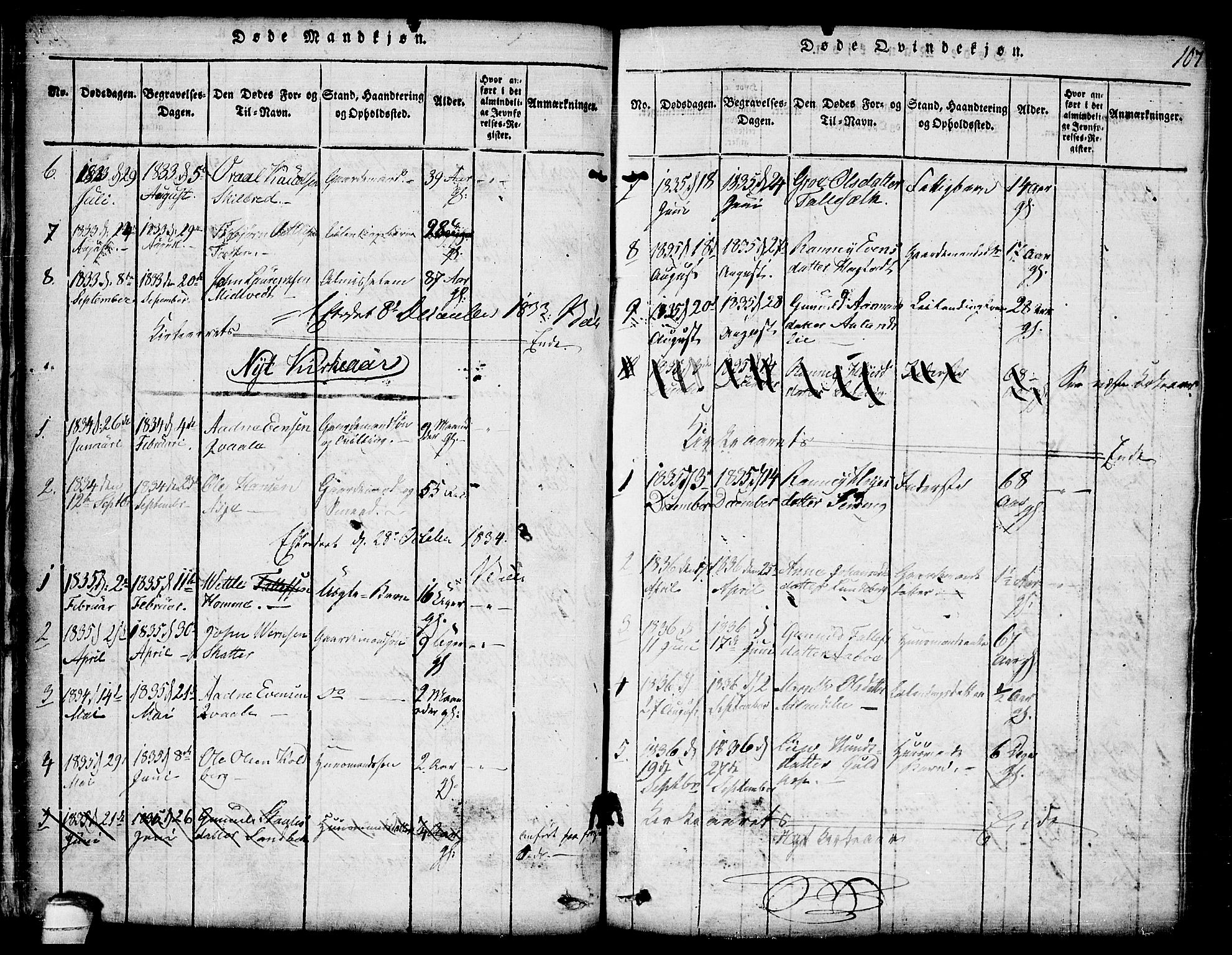 SAKO, Lårdal kirkebøker, G/Ga/L0001: Klokkerbok nr. I 1, 1815-1861, s. 107