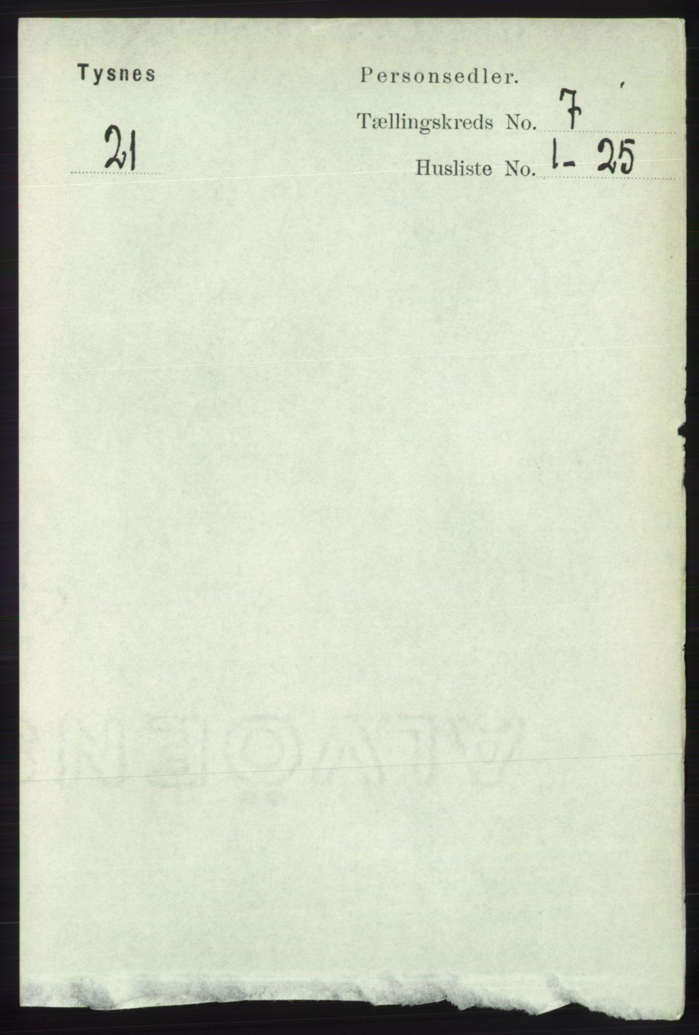 RA, Folketelling 1891 for 1223 Tysnes herred, 1891, s. 2877