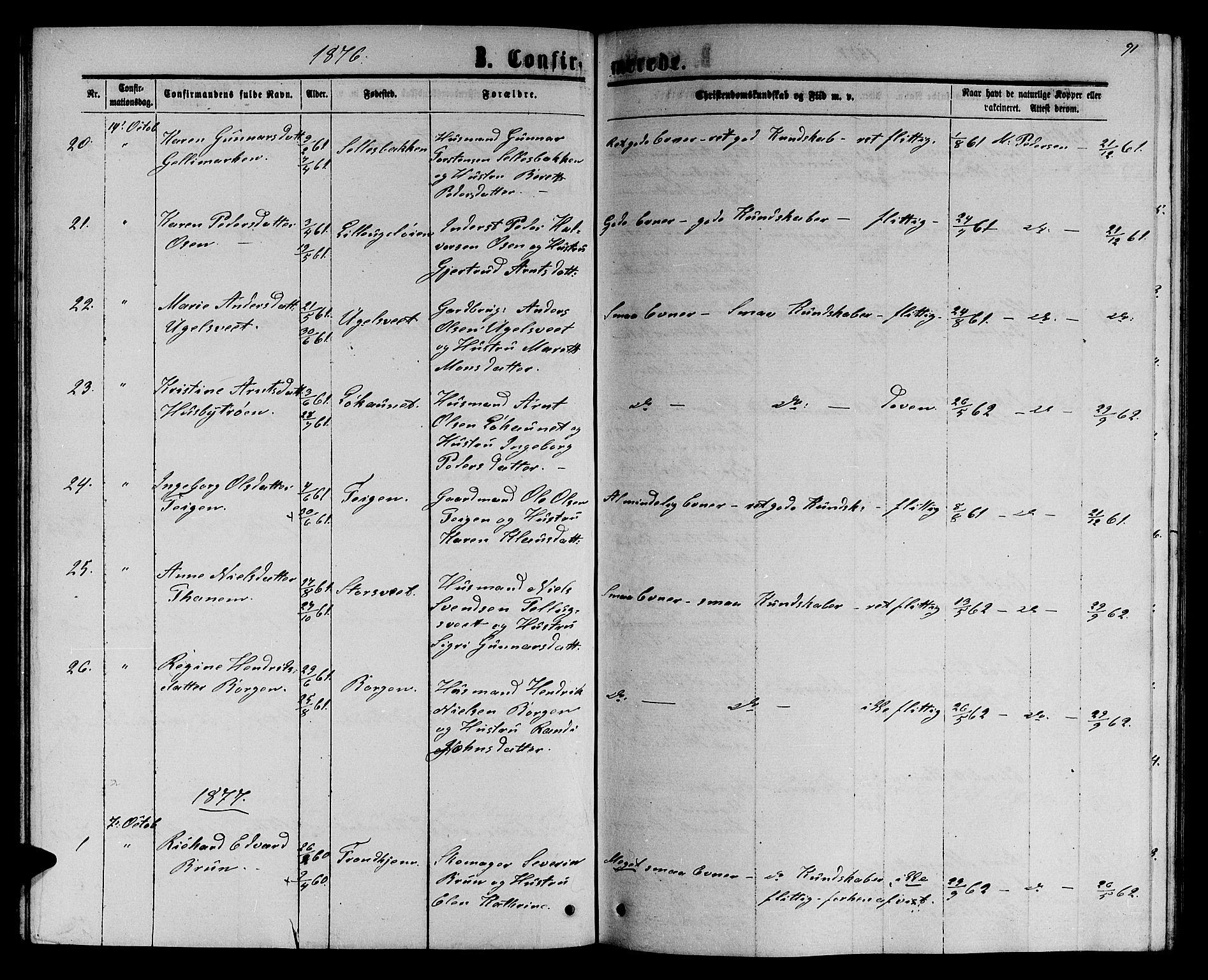 SAT, Ministerialprotokoller, klokkerbøker og fødselsregistre - Sør-Trøndelag, 618/L0451: Klokkerbok nr. 618C02, 1865-1883, s. 91