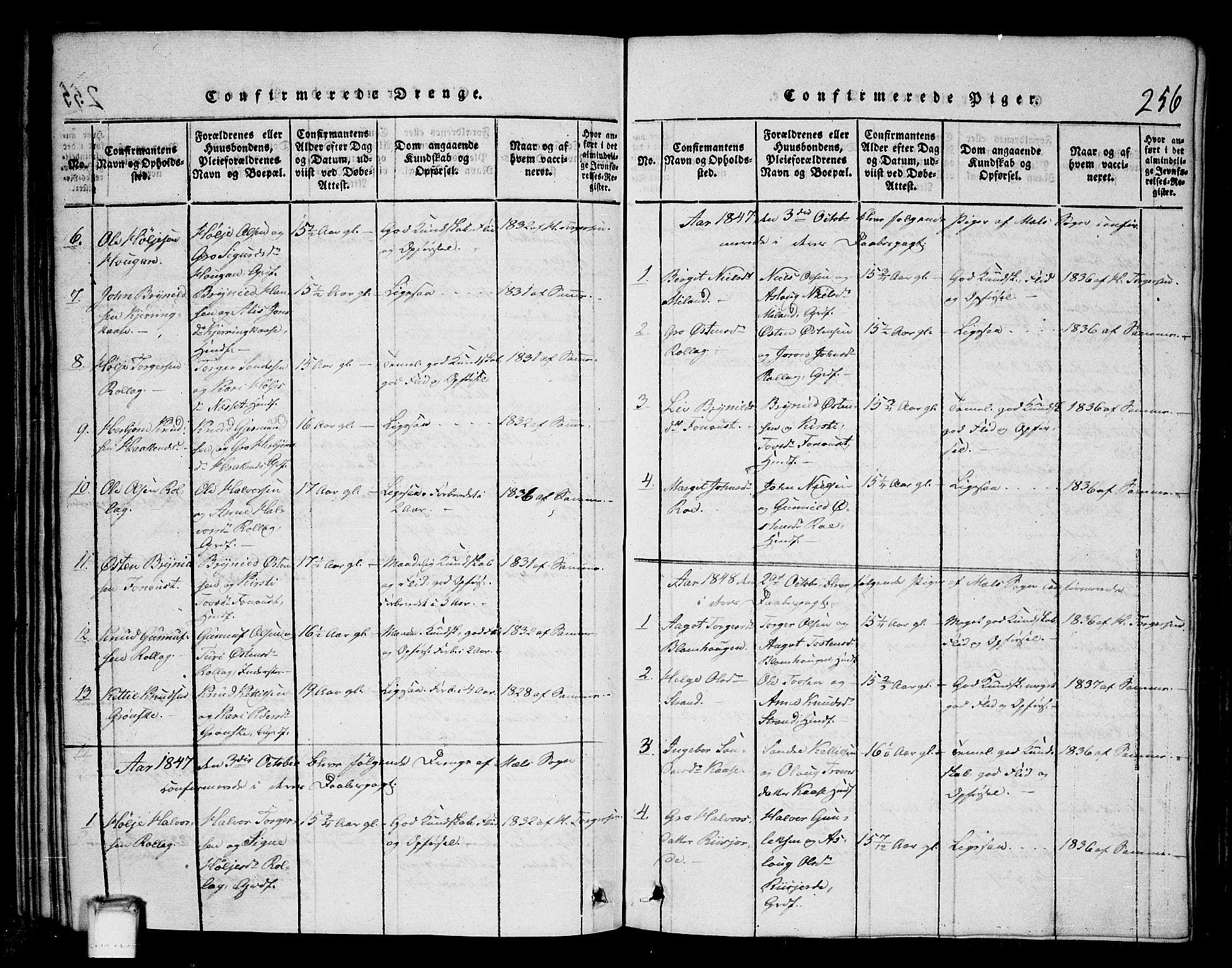 SAKO, Tinn kirkebøker, G/Gb/L0001: Klokkerbok nr. II 1 /1, 1815-1850, s. 256