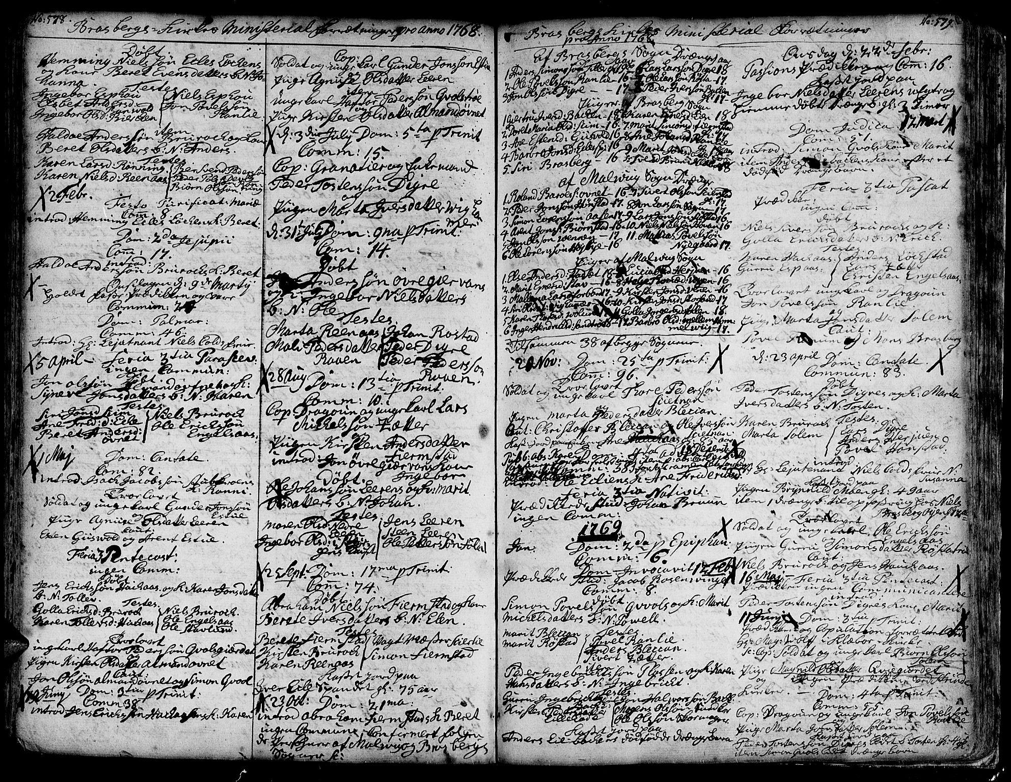 SAT, Ministerialprotokoller, klokkerbøker og fødselsregistre - Sør-Trøndelag, 606/L0278: Ministerialbok nr. 606A01 /4, 1727-1780, s. 578-579