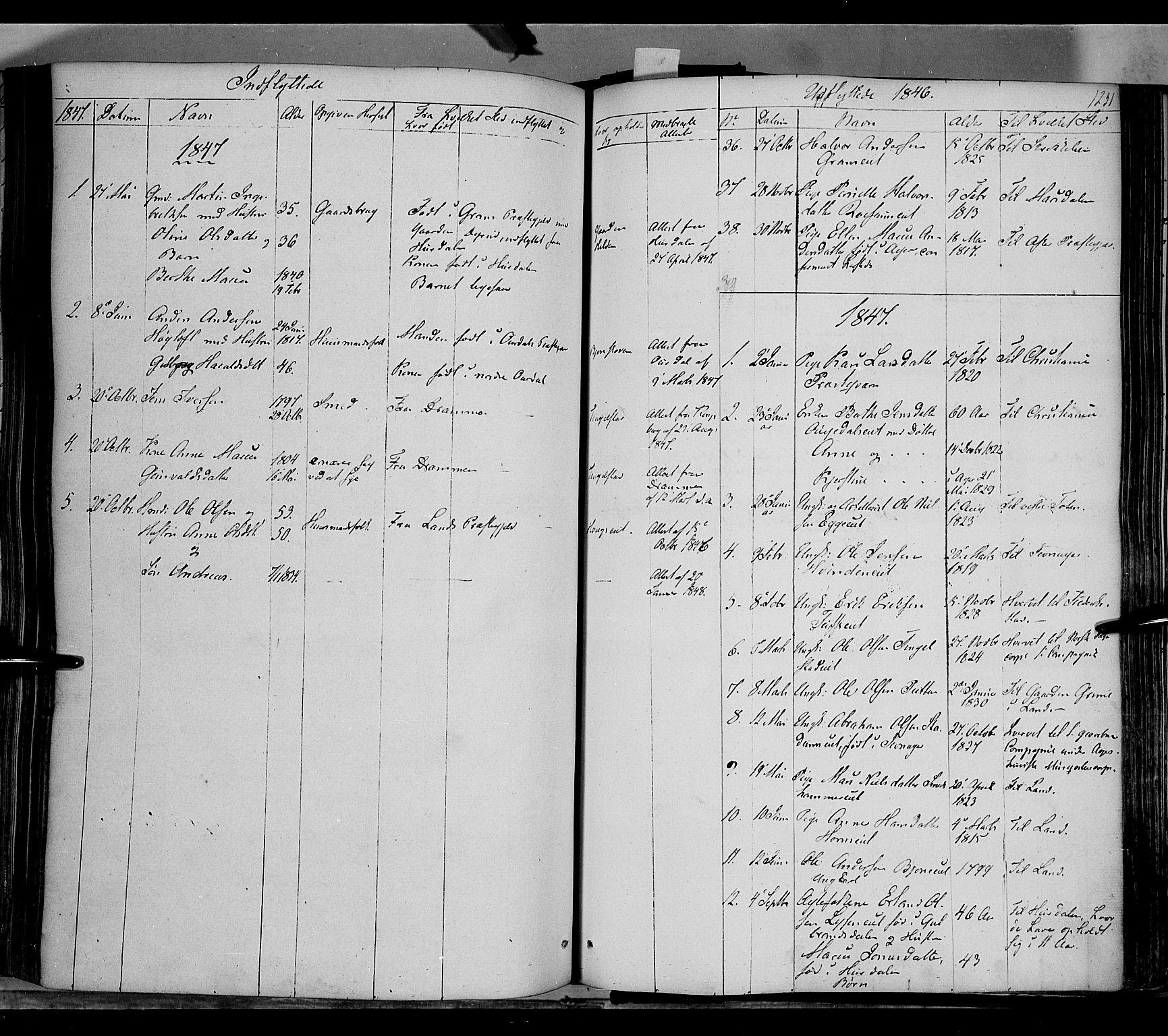 SAH, Gran prestekontor, Ministerialbok nr. 11, 1842-1856, s. 1230-1231