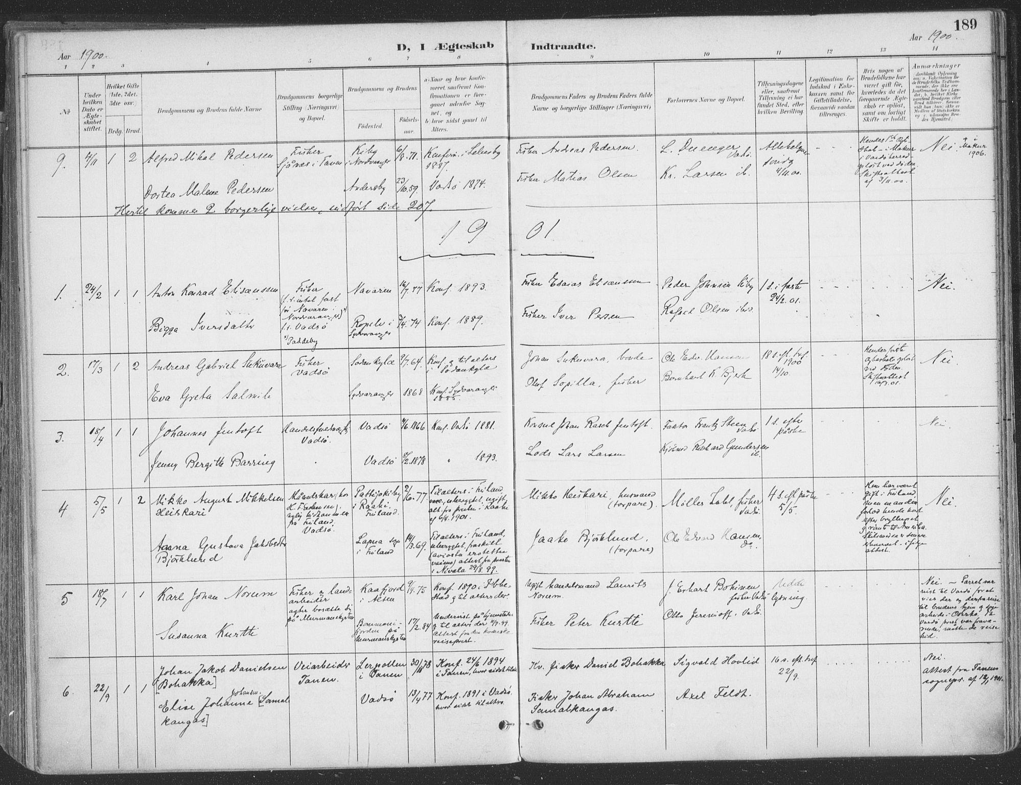 SATØ, Vadsø sokneprestkontor, H/Ha/L0007kirke: Ministerialbok nr. 7, 1896-1916, s. 189