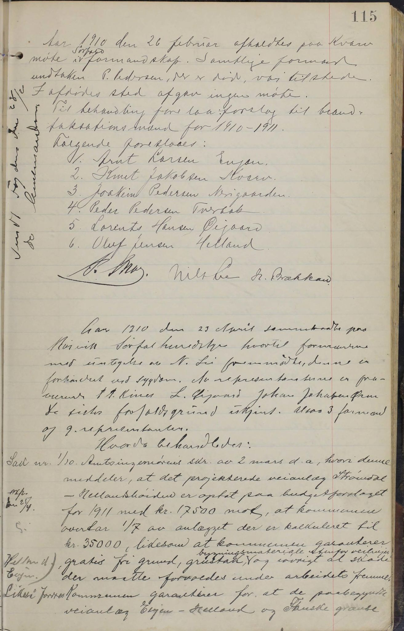 AIN, Sørfold kommune. Formannskap, 100/L0002: Forhandlingsprotokol for Sørfoldens formandskab, 1902-1913, s. 115