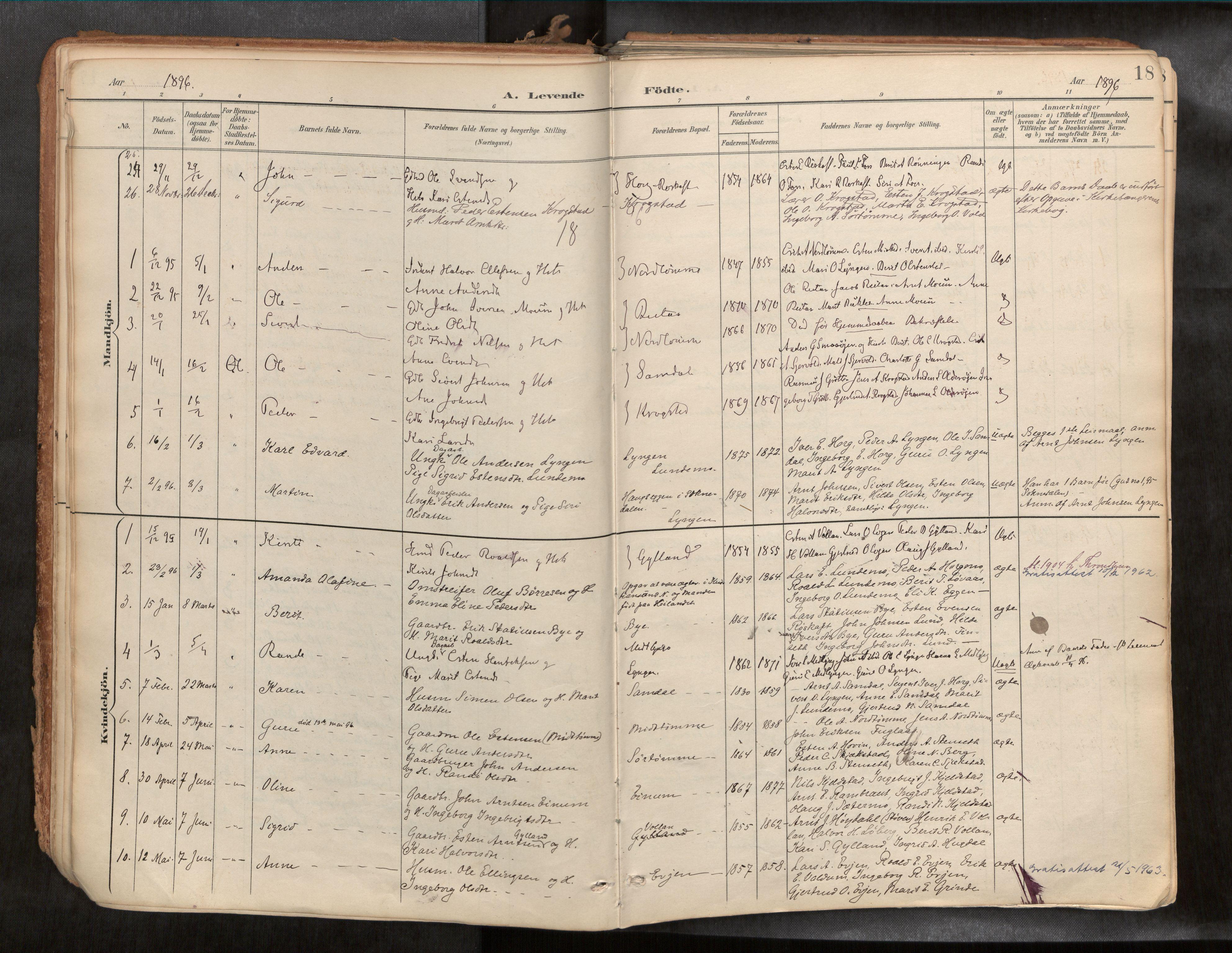 SAT, Ministerialprotokoller, klokkerbøker og fødselsregistre - Sør-Trøndelag, 692/L1105b: Ministerialbok nr. 692A06, 1891-1934, s. 18