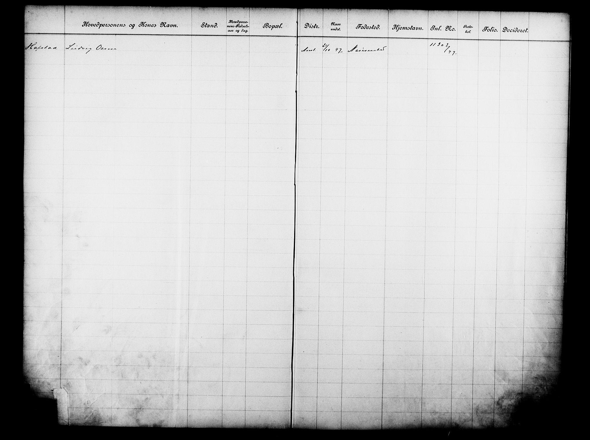 OBA, Fattigvesenet, Fb/L0017: Hjemstavnsregister, 1897, s. 171