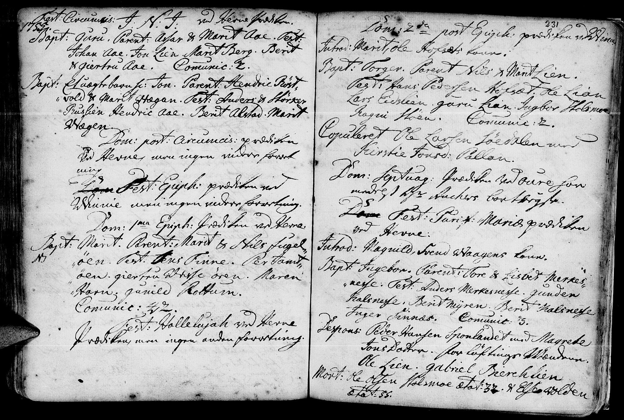 SAT, Ministerialprotokoller, klokkerbøker og fødselsregistre - Sør-Trøndelag, 630/L0488: Ministerialbok nr. 630A01, 1717-1756, s. 230-231