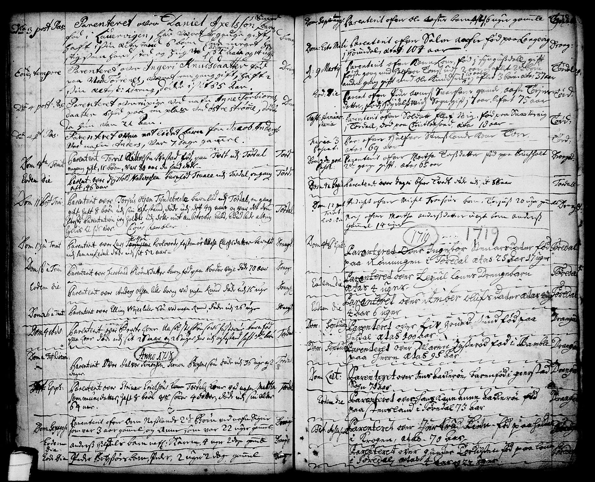 SAKO, Drangedal kirkebøker, F/Fa/L0001: Ministerialbok nr. 1, 1697-1767, s. 74