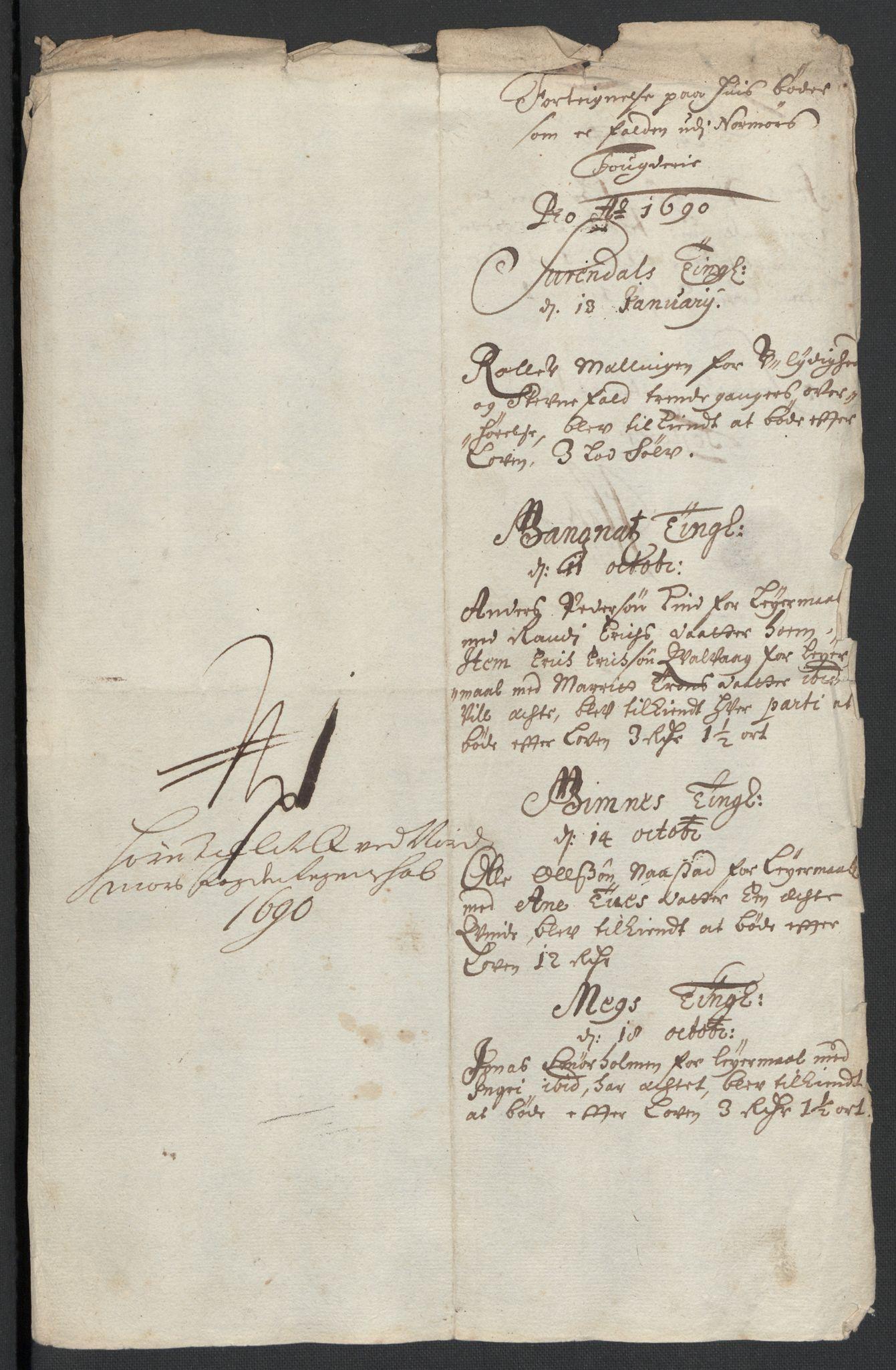RA, Rentekammeret inntil 1814, Reviderte regnskaper, Fogderegnskap, R56/L3734: Fogderegnskap Nordmøre, 1690-1691, s. 205