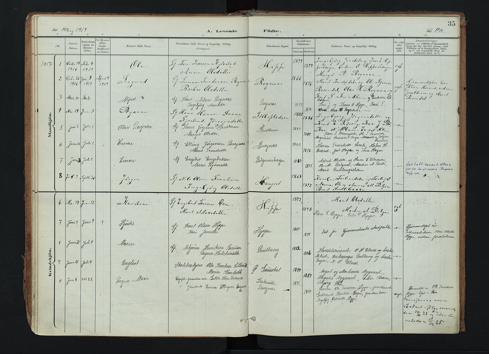 SAH, Nord-Aurdal prestekontor, Ministerialbok nr. 17, 1897-1926, s. 35